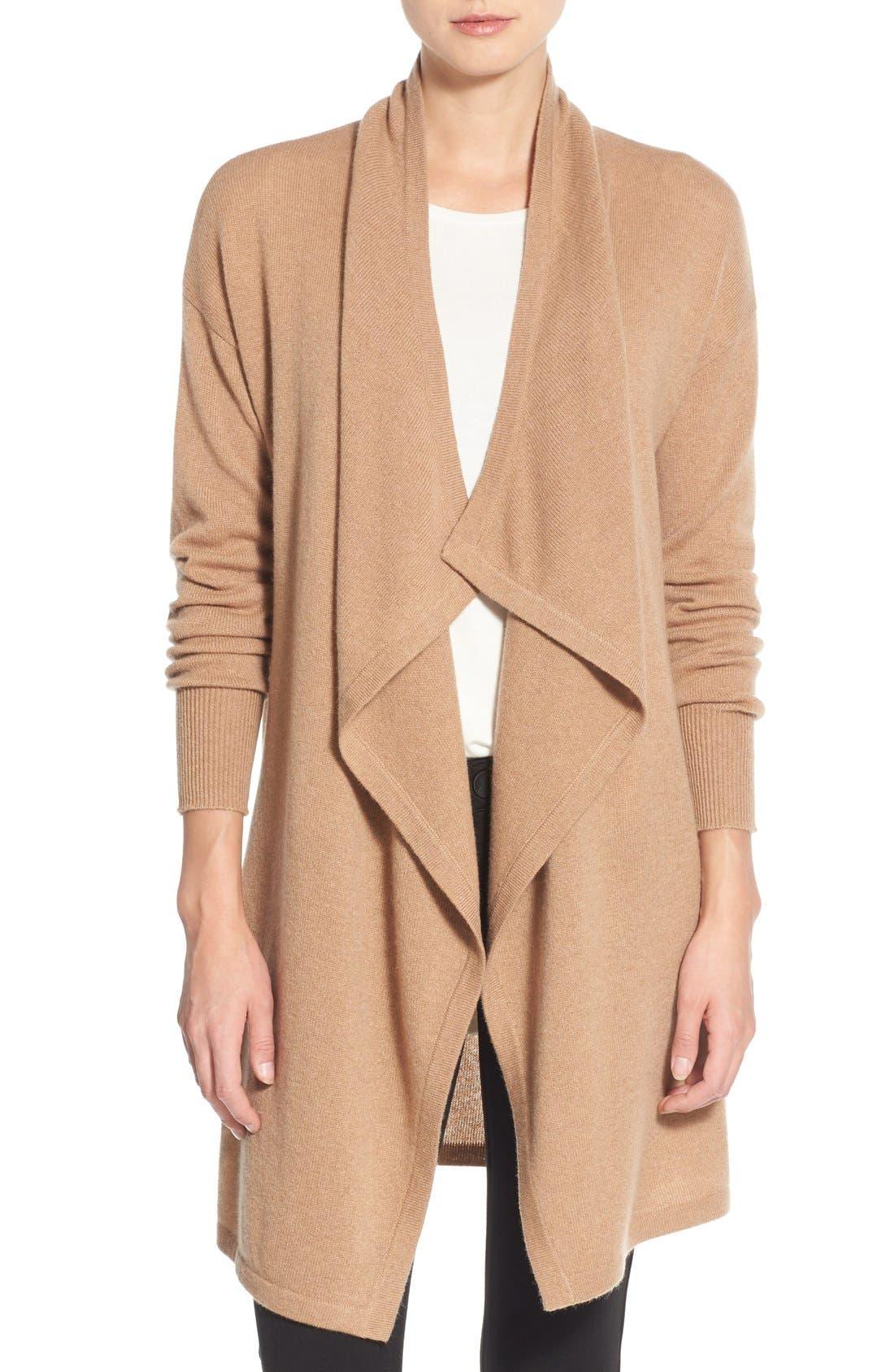 Alternate Image 1 Selected - Halogen® Cashmere Long Drape Front Cardigan (Regular & Petite)