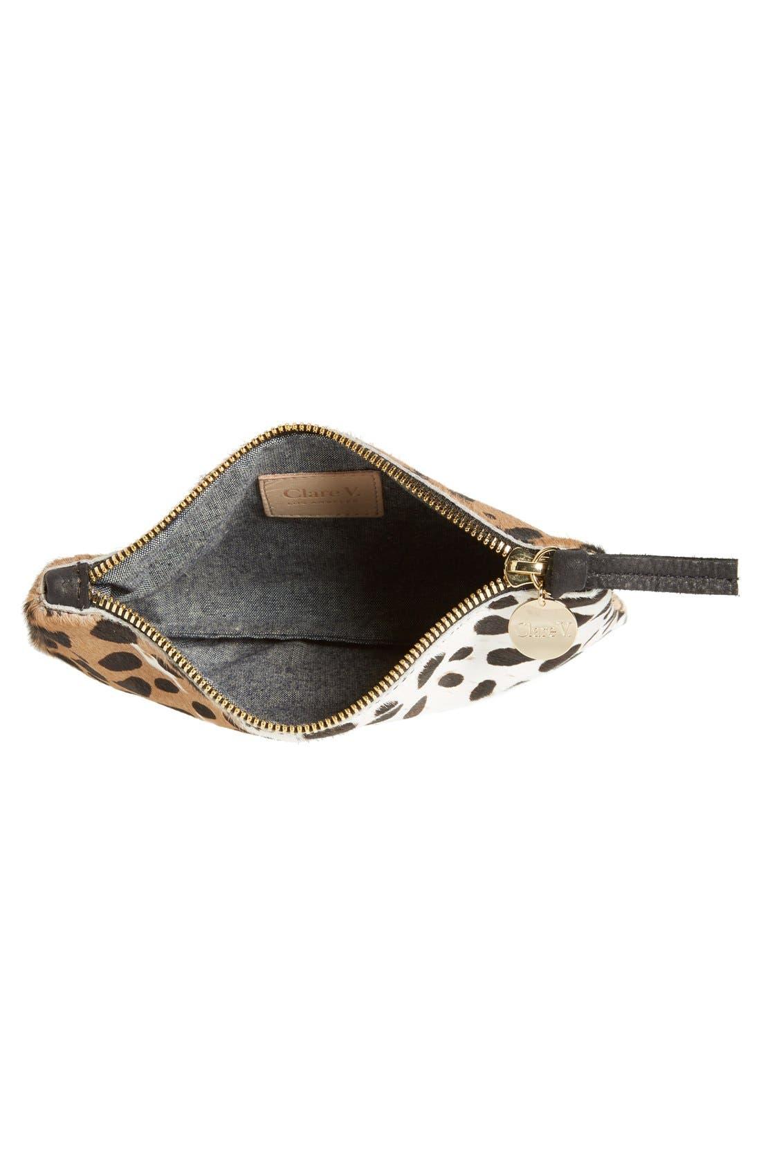 'Core' Leopard Print Genuine Calf Hair Pouch,                             Alternate thumbnail 4, color,                             Leopard