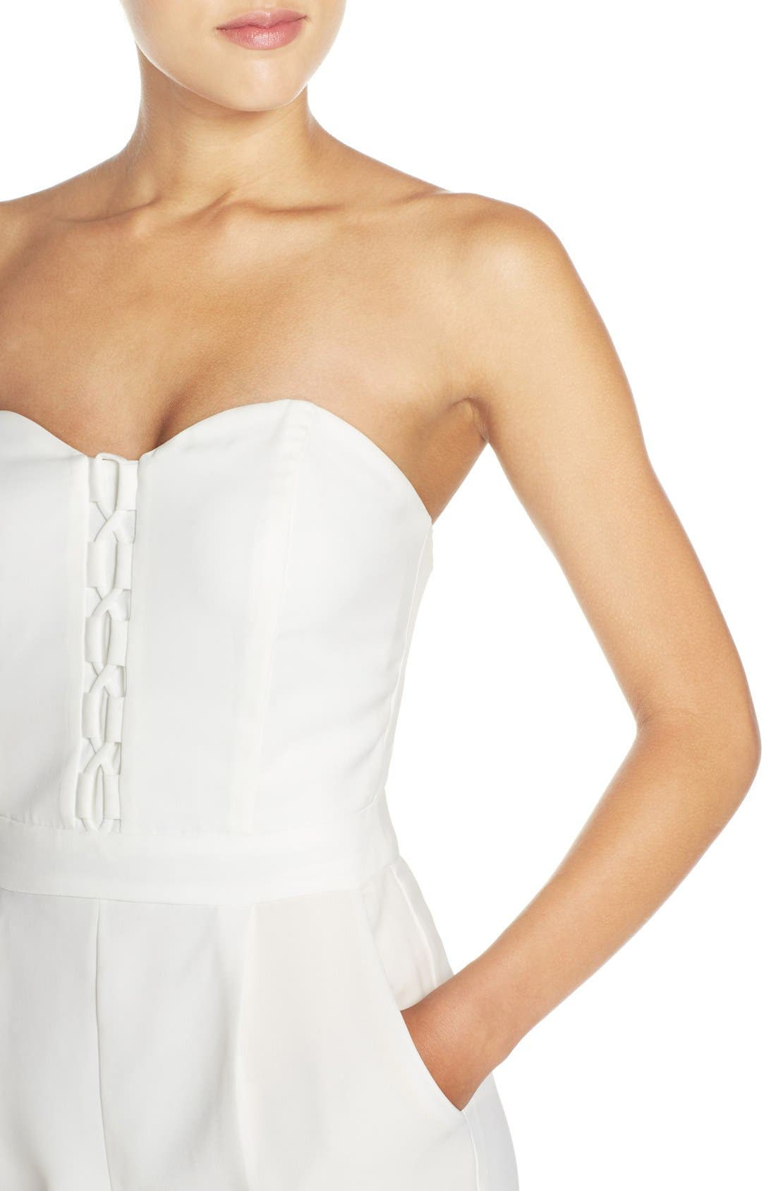 Alternate Image 4  - Adelyn Rae Strapless Lace-Up Jumpsuit