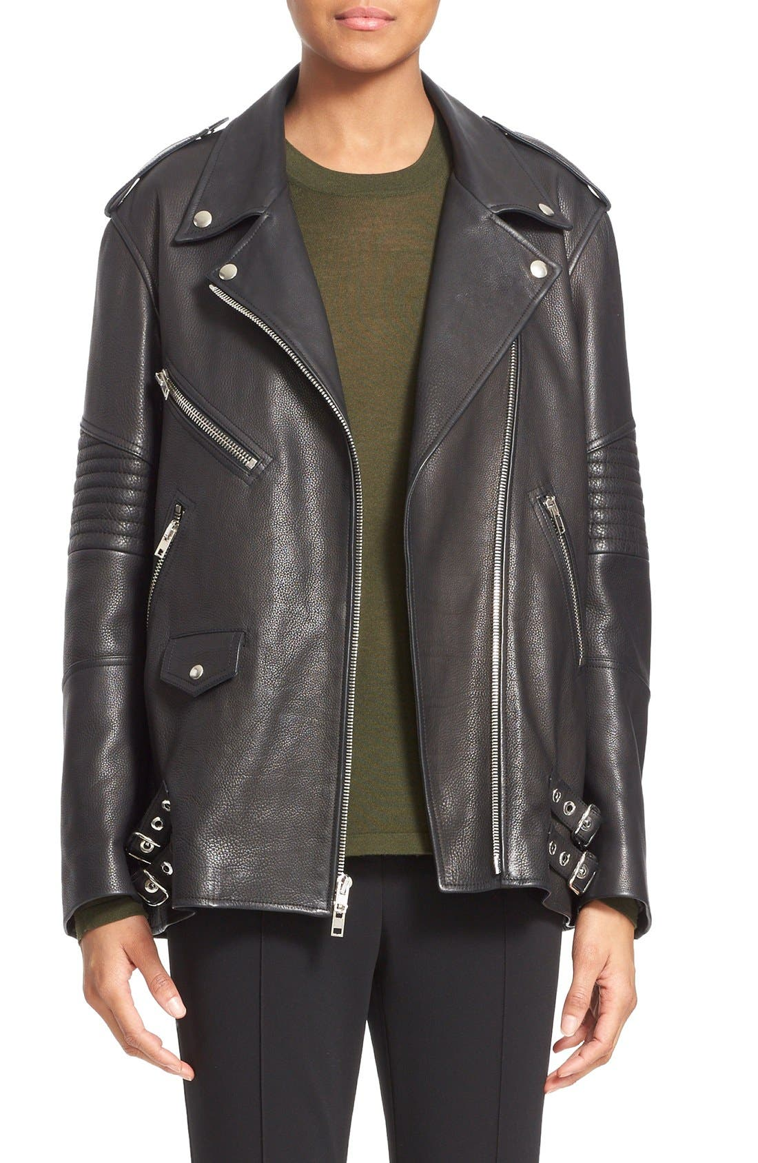 Alternate Image 1 Selected - Alexander Wang Leather Moto Jacket