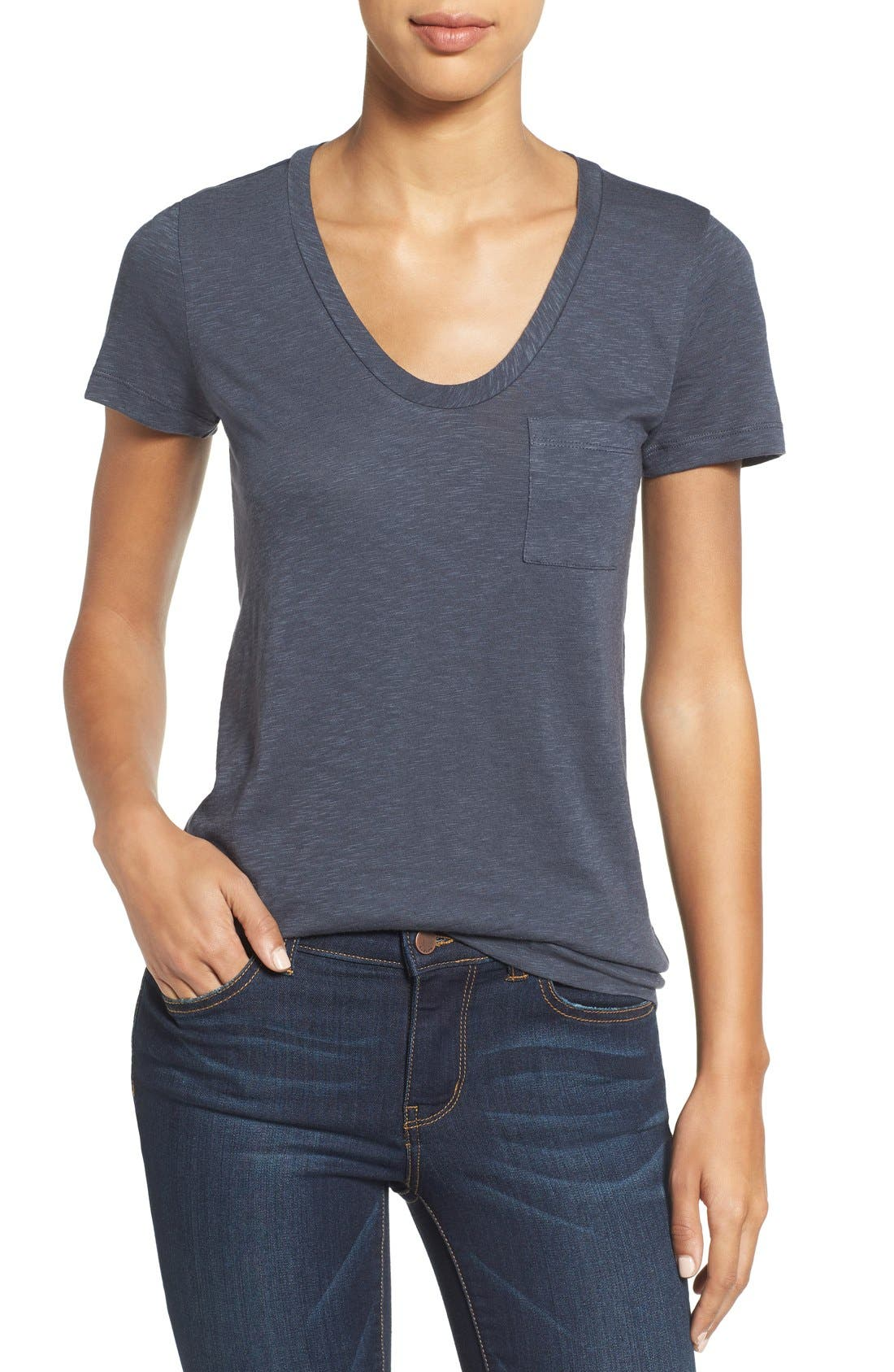 Main Image - Caslon® Rounded V-Neck Tee (Regular & Petite)