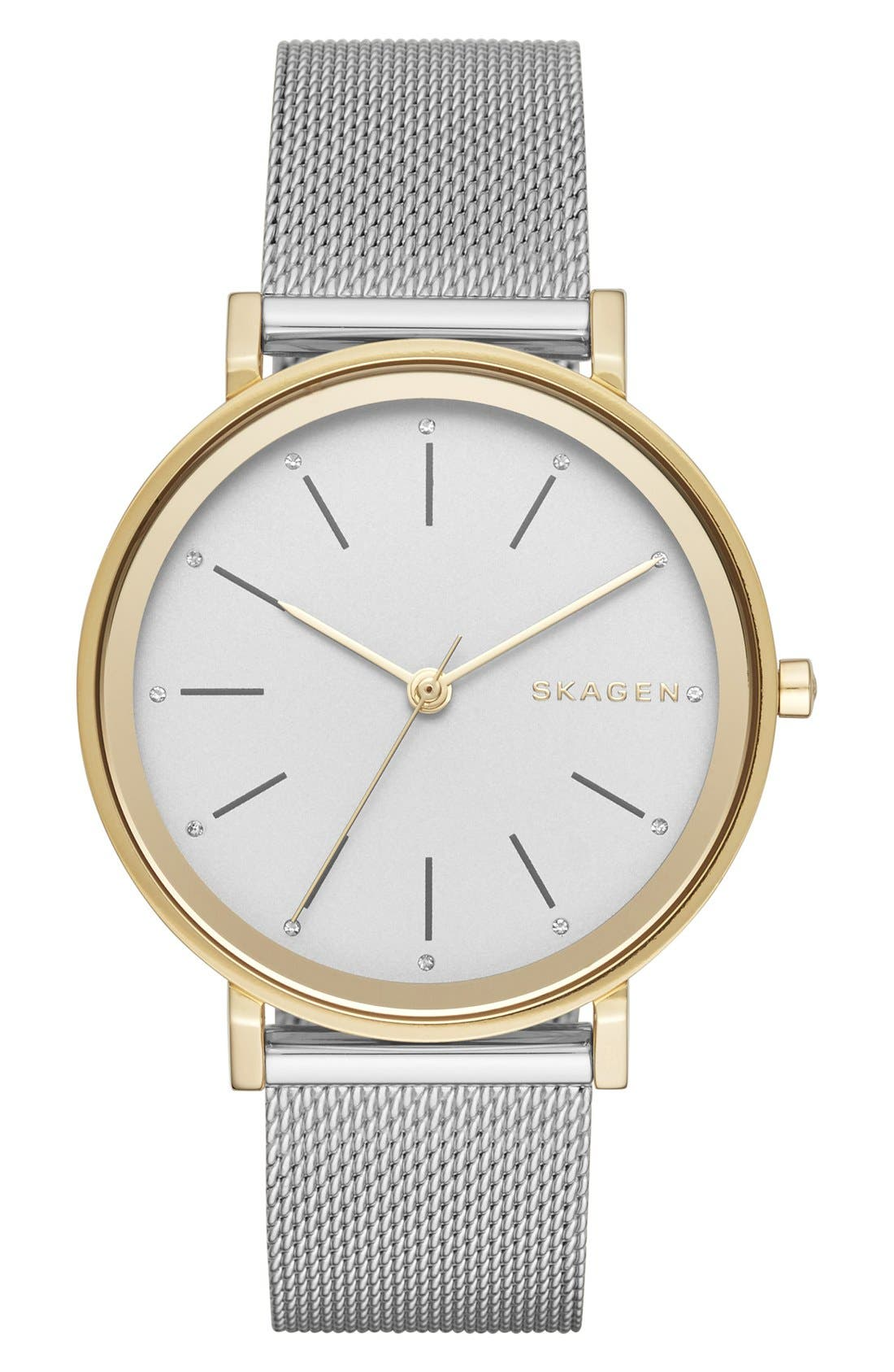 'Hald' Round Mesh Strap Watch, 34mm,                             Main thumbnail 1, color,                             Silver/ White/ Gold