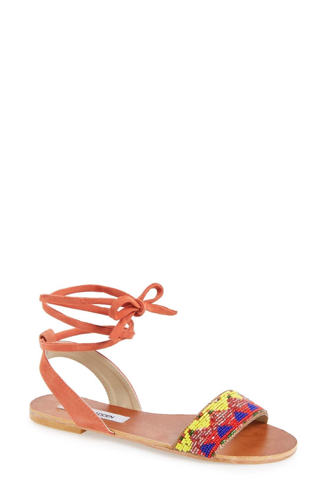 'Shaney' Beaded Wraparound Lace Sandal,                         Main,                         color, Bright Multi