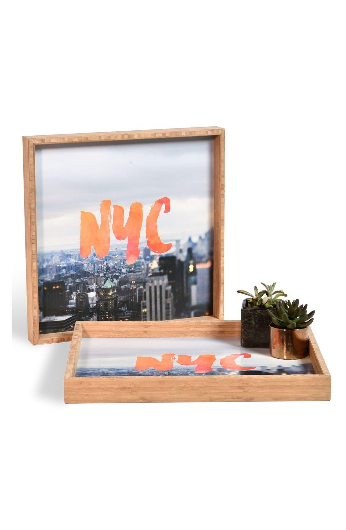 'NYC Skyline' Decorative Serving Tray,                             Main thumbnail 1, color,                             Orange