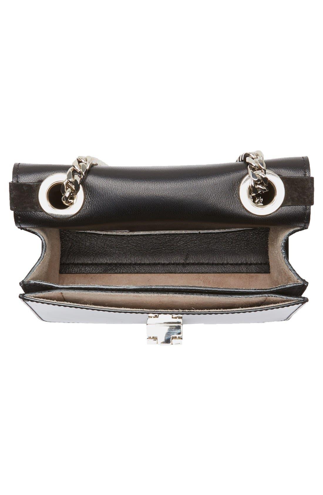 'Rebel Mini' Suede Crossbody Bag,                             Alternate thumbnail 4, color,                             Black