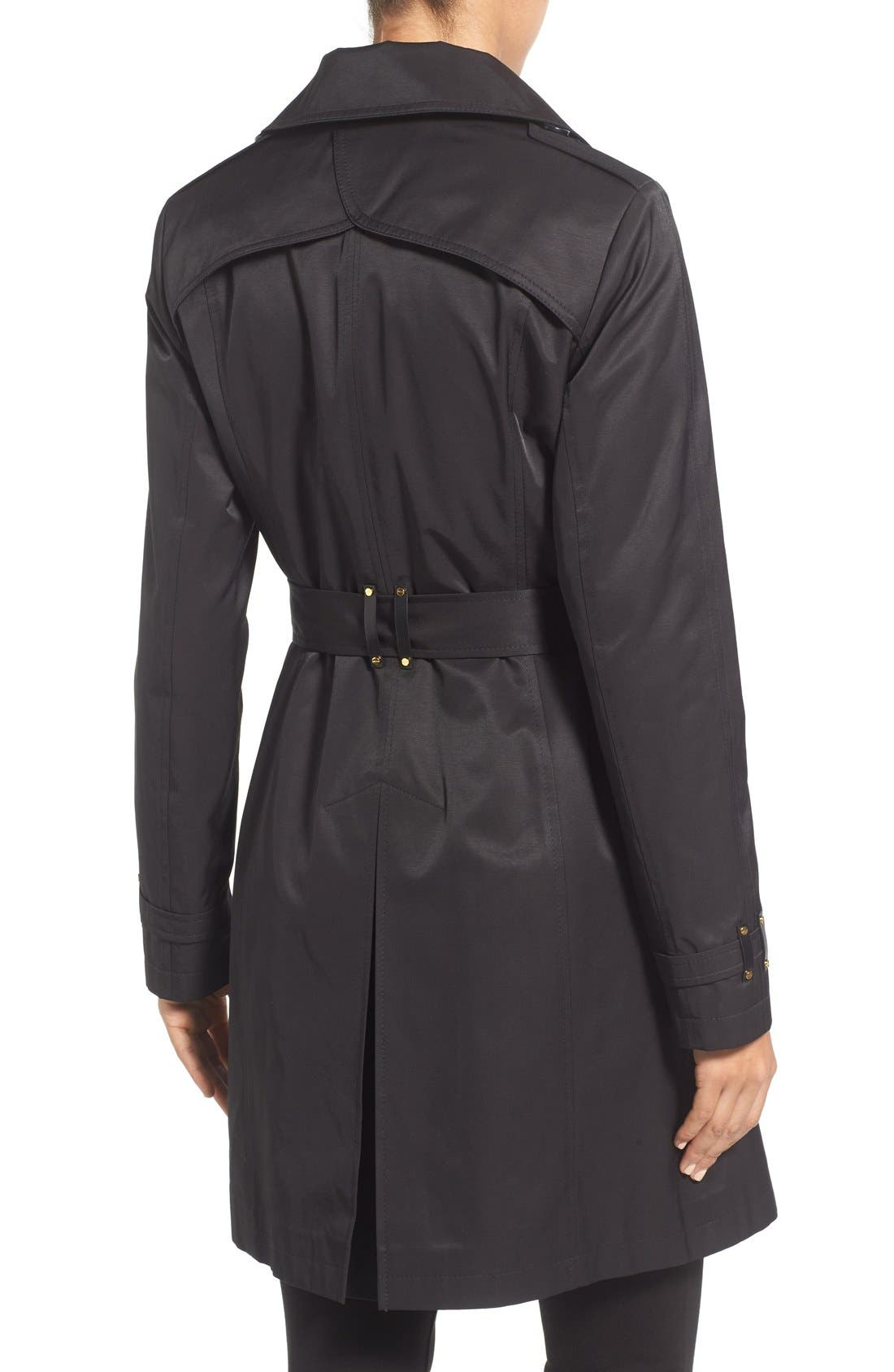 Alternate Image 2  - Via Spiga Double Breasted Trench with Faux Leather Trim