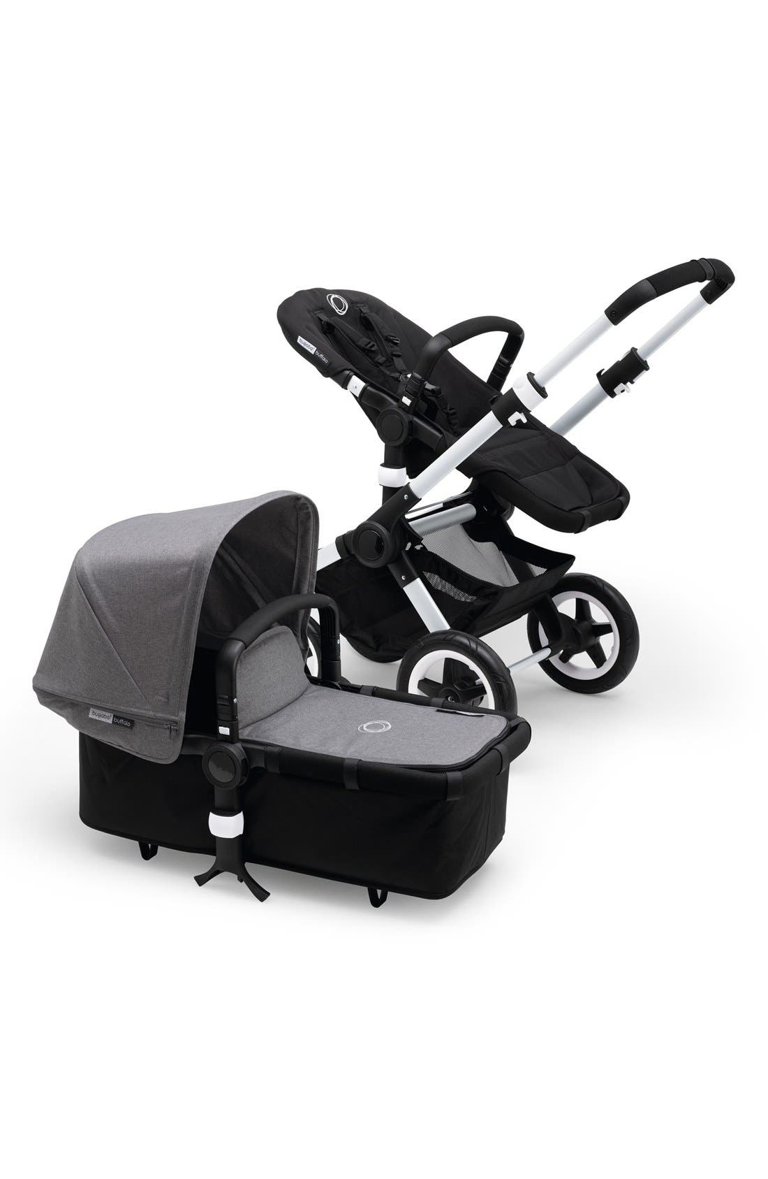 'Buffalo' Stroller Tailored Fabric Set with Extendable Sun Canopy,                             Alternate thumbnail 3, color,                             Grey Melange