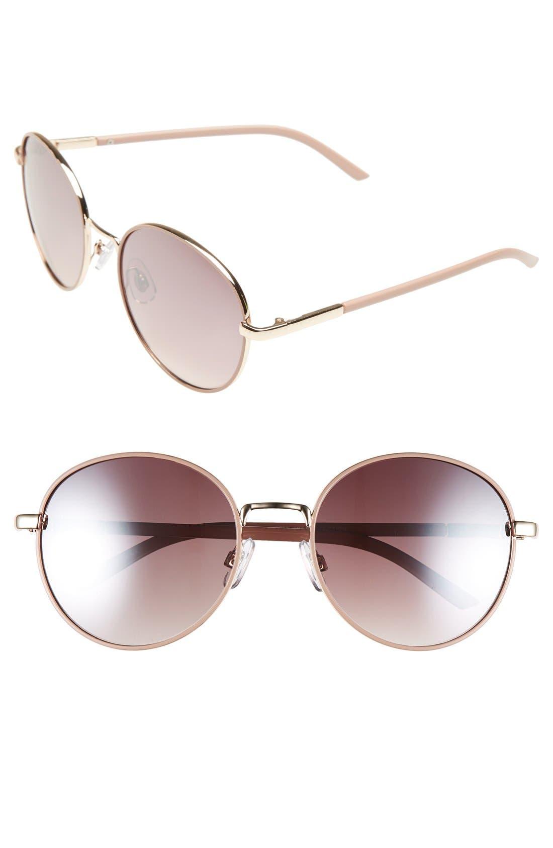 55mm Round Sunglasses,                             Main thumbnail 1, color,                             Mauve