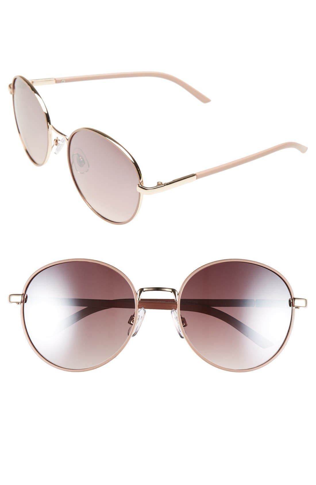 55mm Round Sunglasses,                         Main,                         color, Mauve