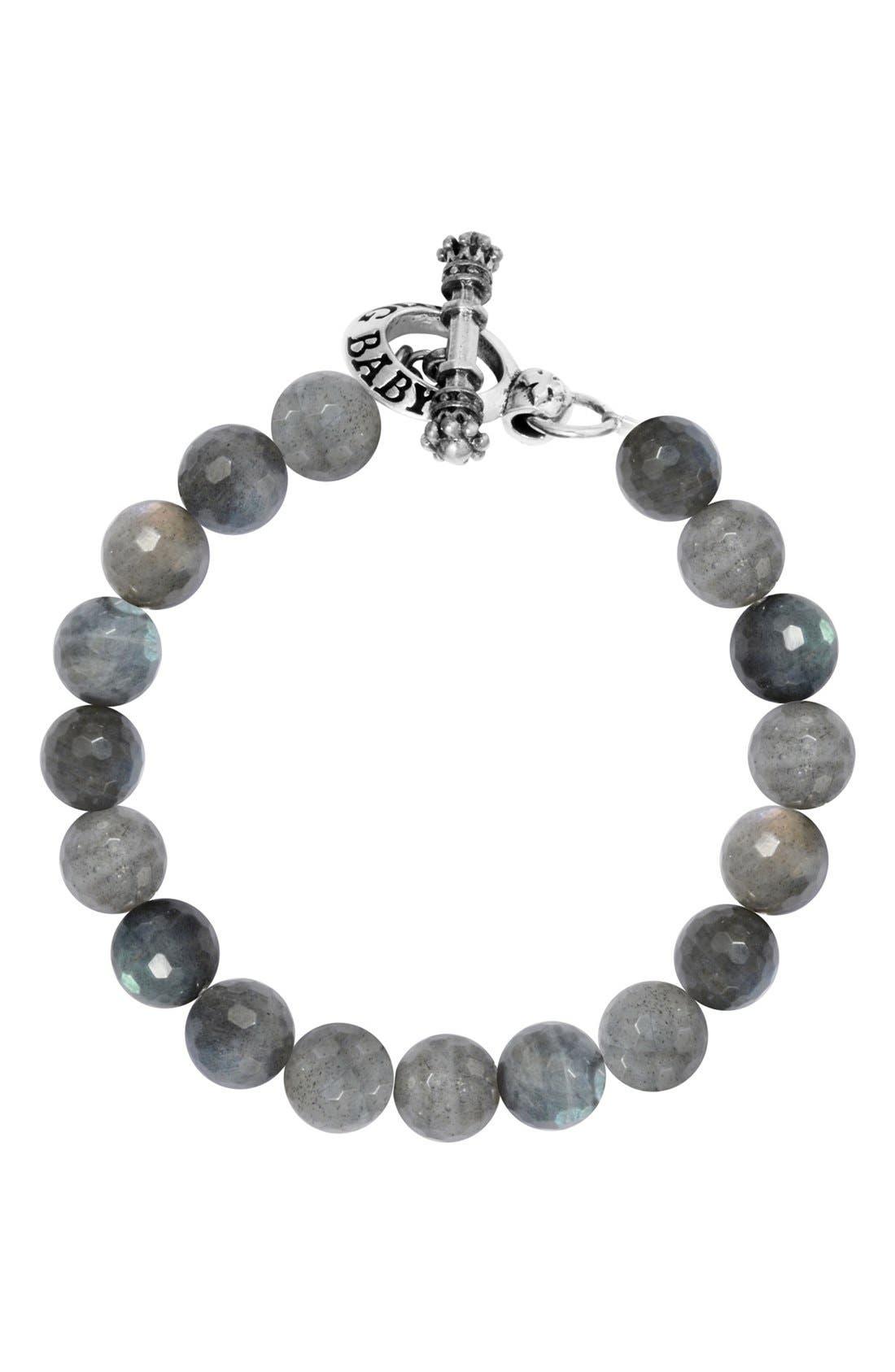 Labradorite Bead Bracelet,                             Main thumbnail 1, color,                             Silver