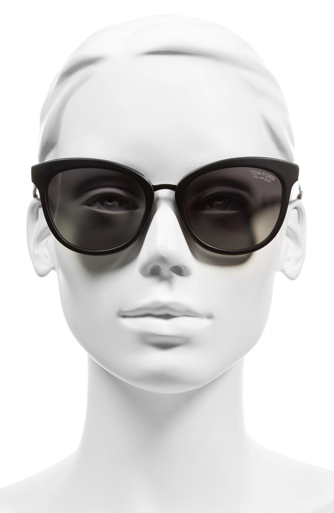 'Emma' 56mm Sunglasses,                             Alternate thumbnail 2, color,                             Matte Black/ Smoke Polarized