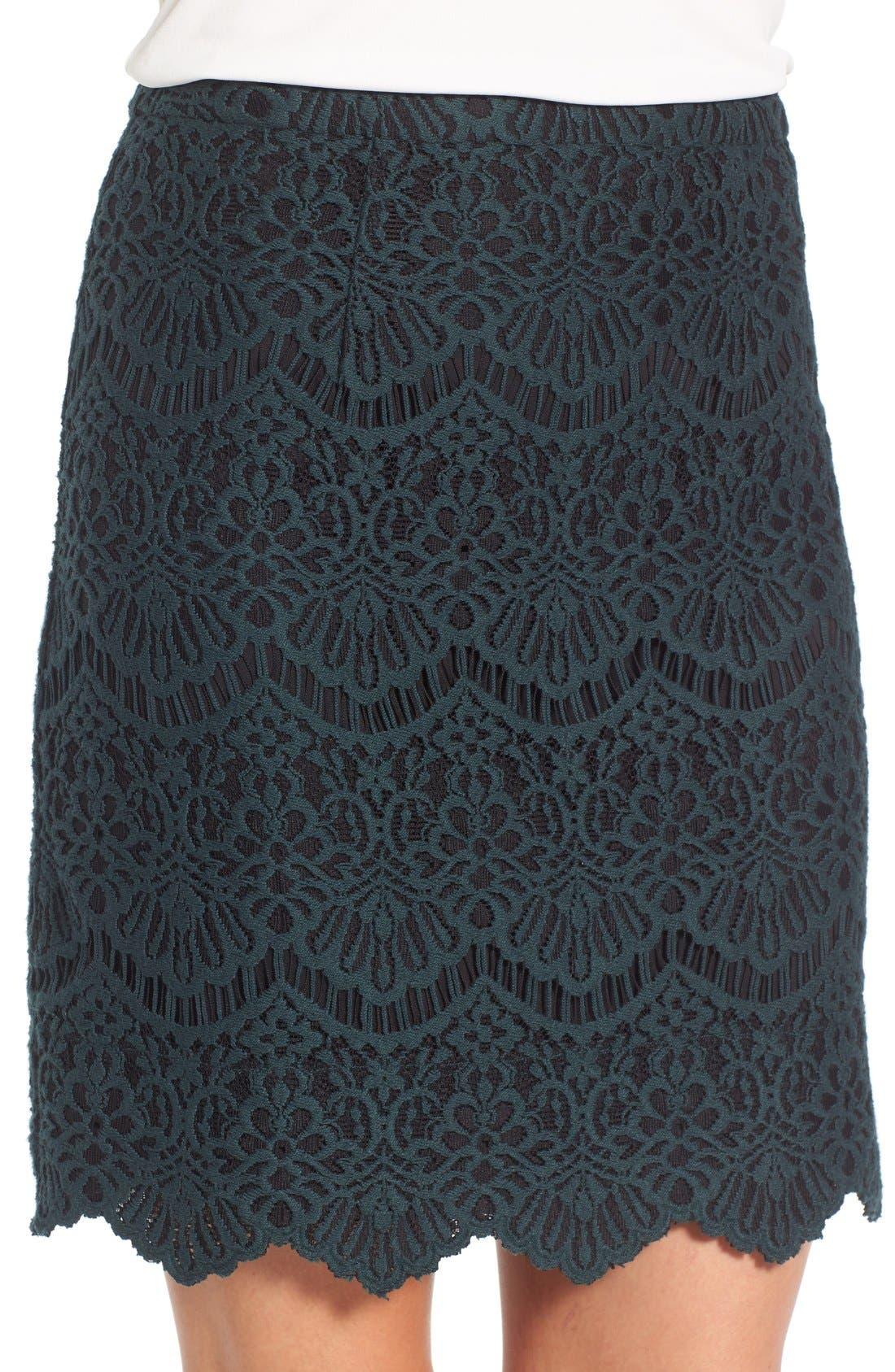Alternate Image 4  - Halogen® Scallop Edge Lace Skirt (Regular & Petite)