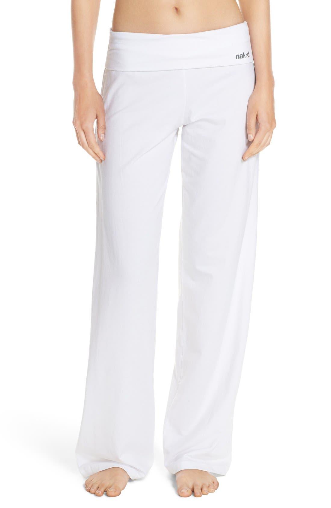 Wide Leg Stretch Cotton Pajama Pants,                         Main,                         color, White