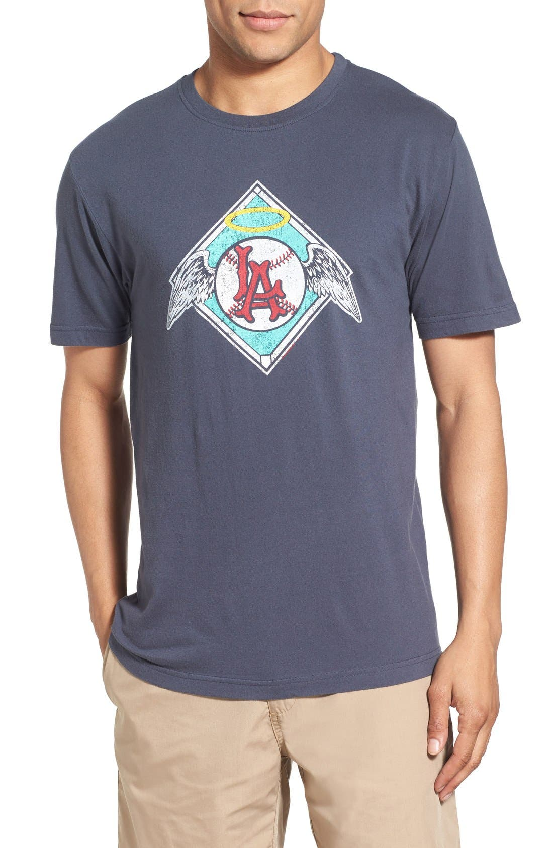 'Los Angeles Angels - Brass Tacks' Trim Fit T-Shirt,                             Main thumbnail 1, color,                             Navy