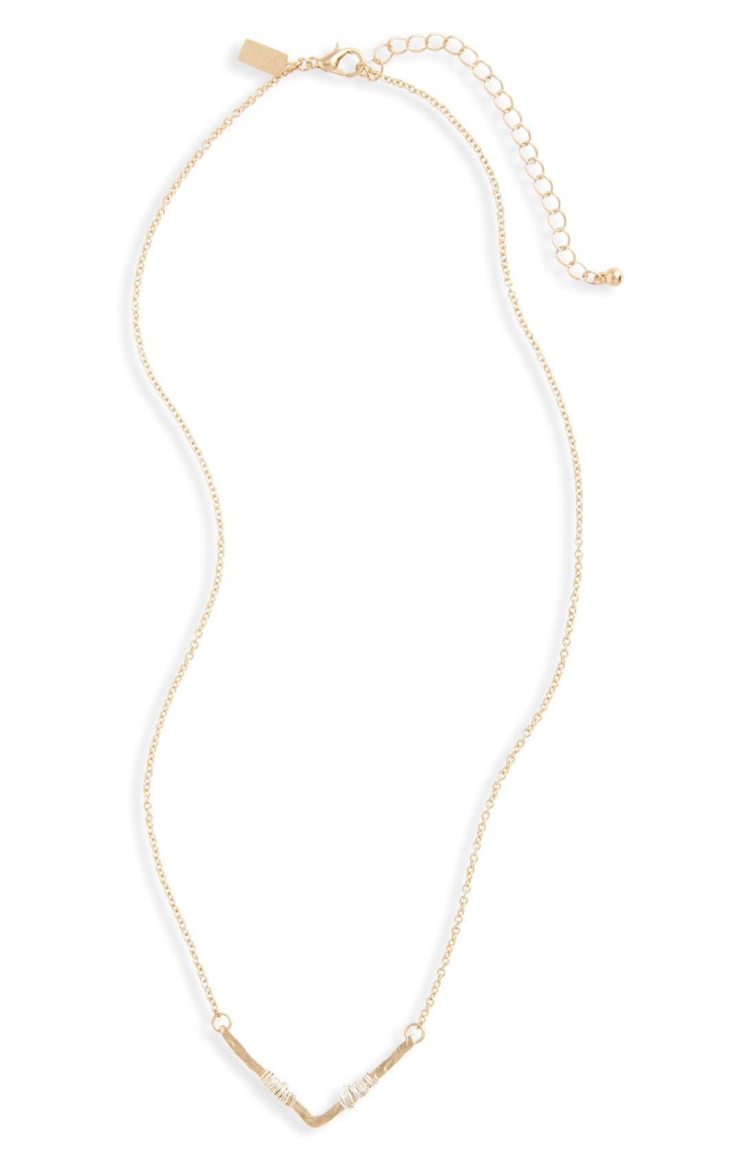 Wire Wrap Chevron Pendant Necklace,                             Main thumbnail 1, color,                             Gold