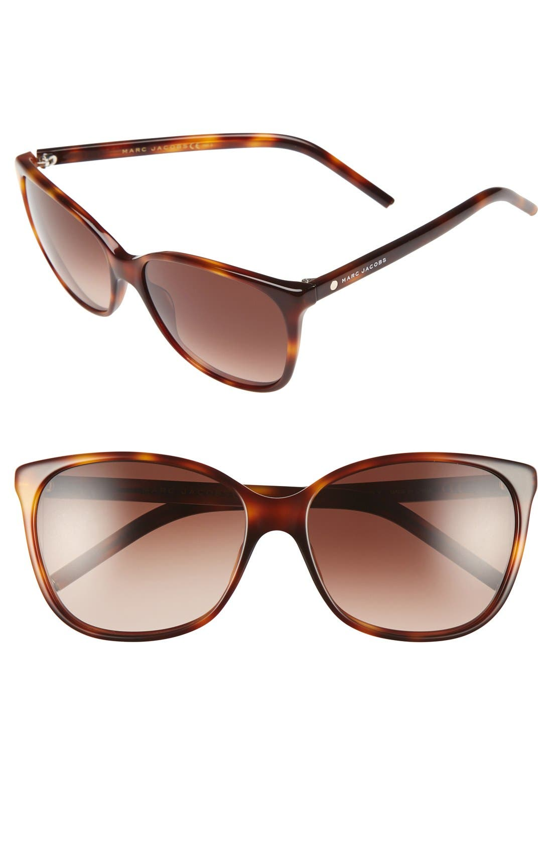 57mm Oversized Sunglasses,                             Main thumbnail 1, color,                             Havana