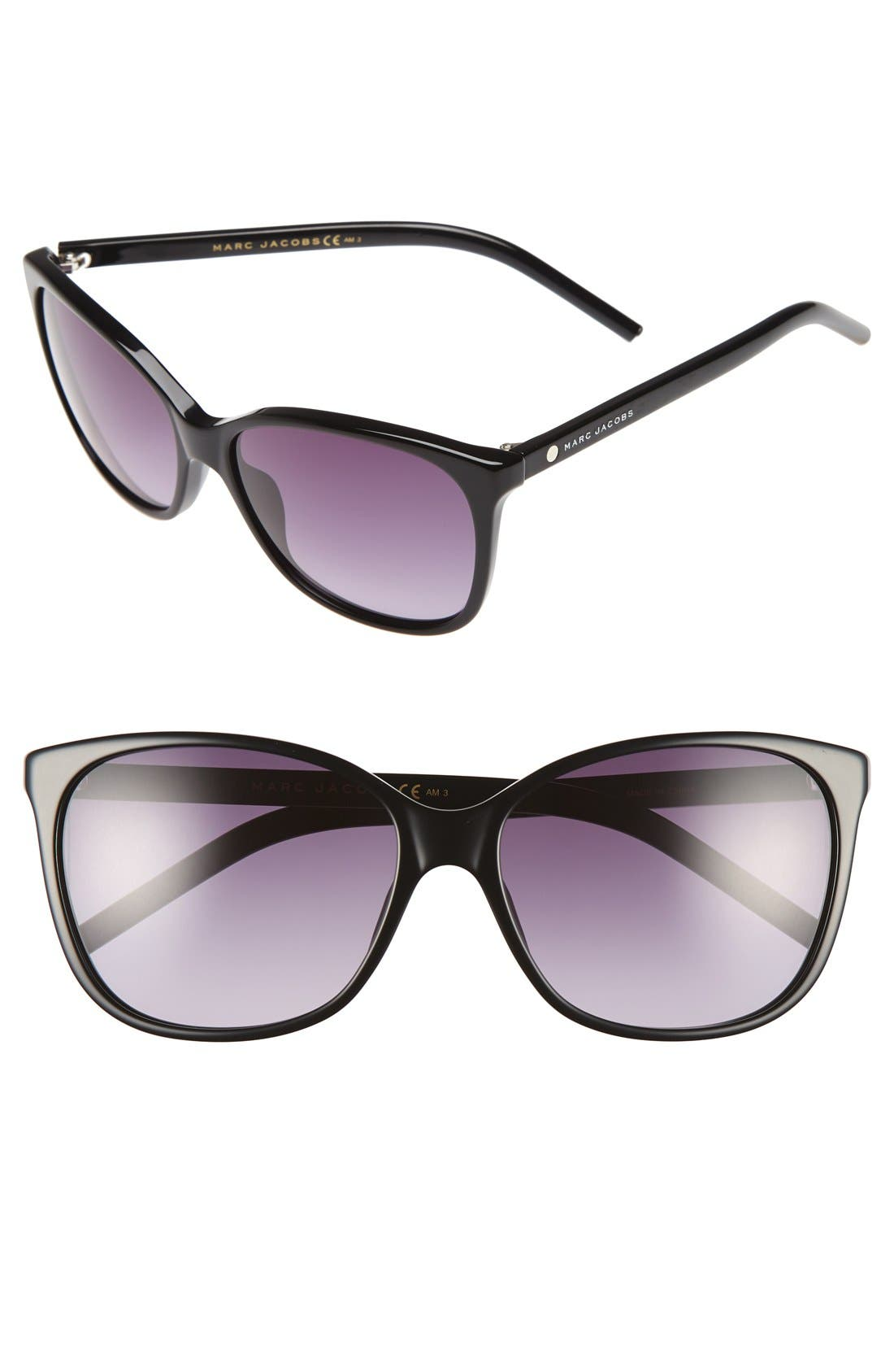 57mm Oversized Sunglasses,                         Main,                         color, Black