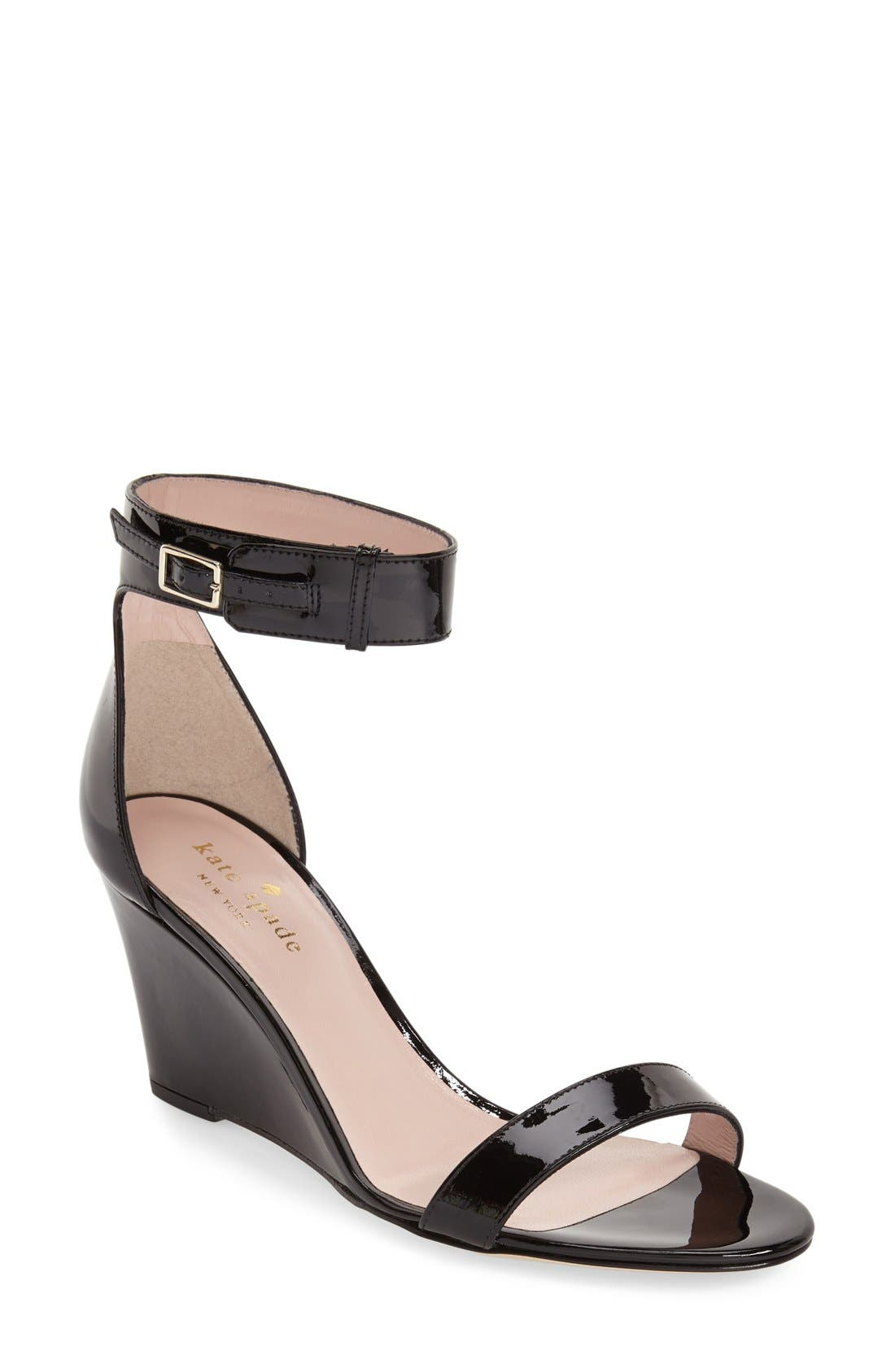 'ronia' wedge sandal,                             Main thumbnail 1, color,                             Black Patent