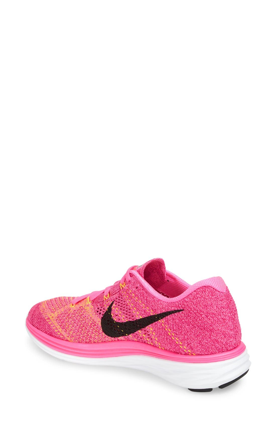 'Flyknit Lunar 3' Running Shoe,                             Alternate thumbnail 3, color,                             Pink Blast/ Black/ Orange