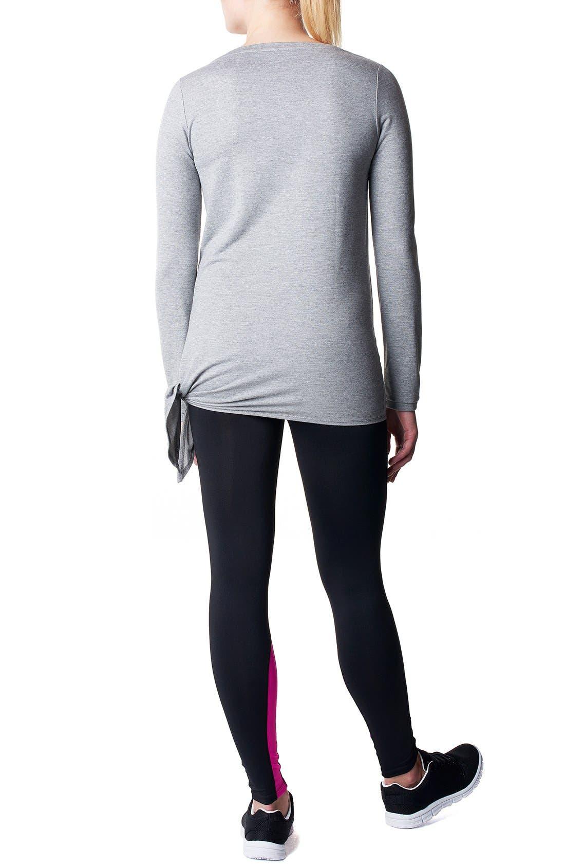 'Heather' Athletic Long Sleeve Maternity Top,                             Alternate thumbnail 2, color,                             Grey Melange
