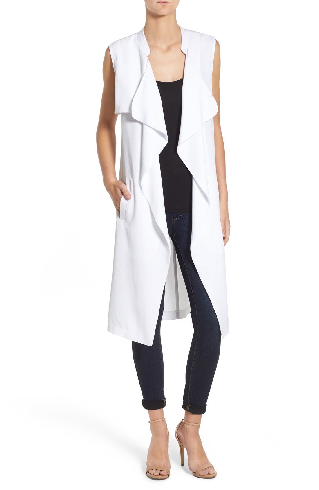 'Sara' Long Vest,                             Main thumbnail 1, color,                             White