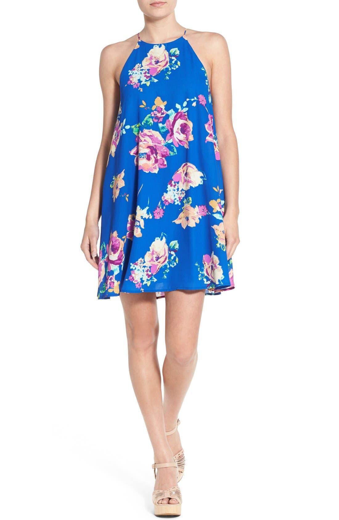 Floral Print High Neck Trapeze Dress,                         Main,                         color, Royal