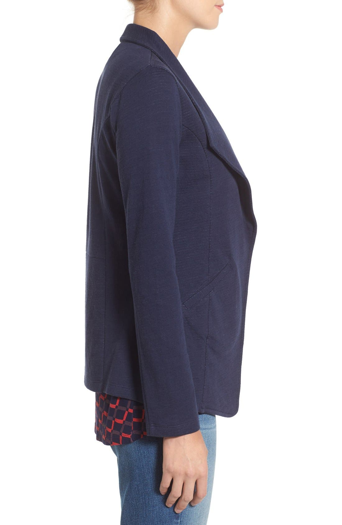 Cotton Knit Open Front Blazer,                             Alternate thumbnail 4, color,                             Navy Pattern