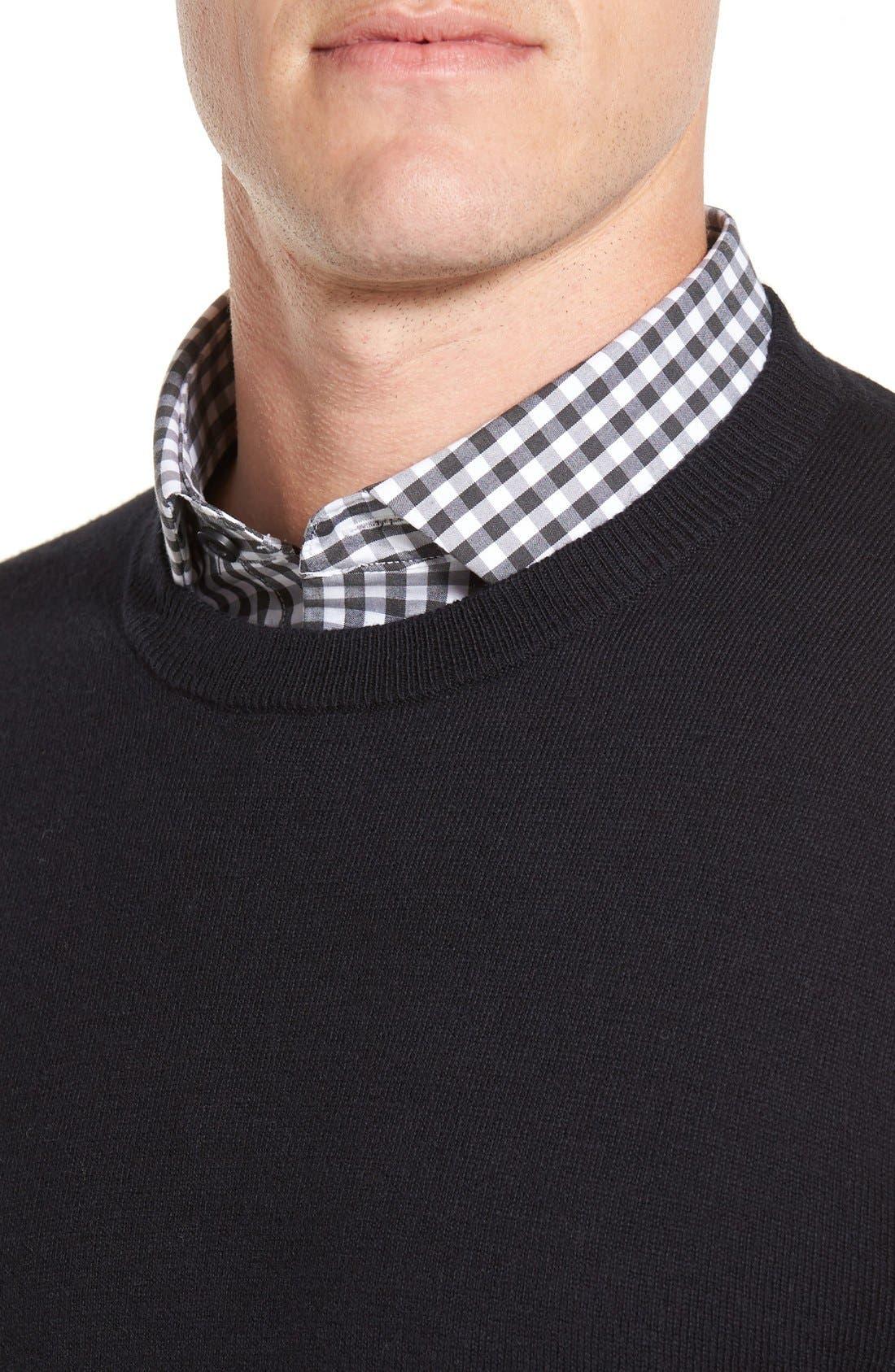 Cotton & Cashmere Crewneck Sweater,                             Alternate thumbnail 4, color,                             Black Caviar