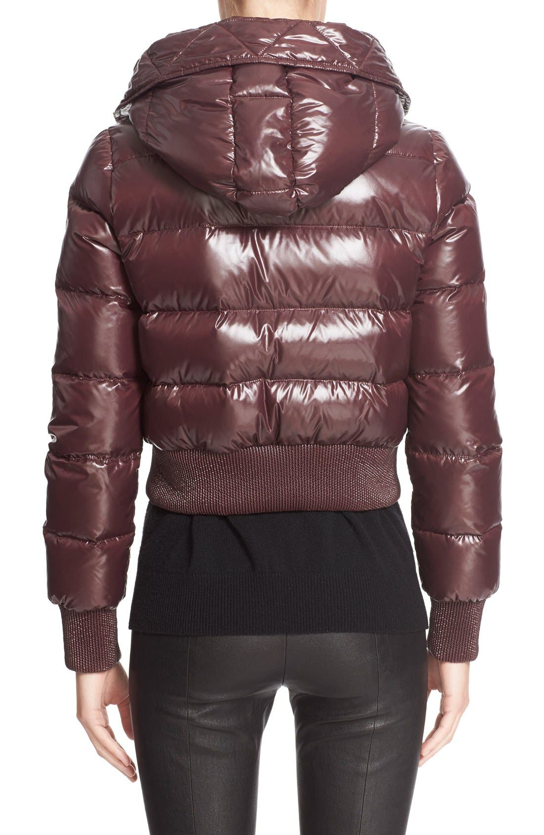 Alternate Image 2  - Moncler 'Sotiria' Water Resistant Shiny Nylon Down Bomber Jacket