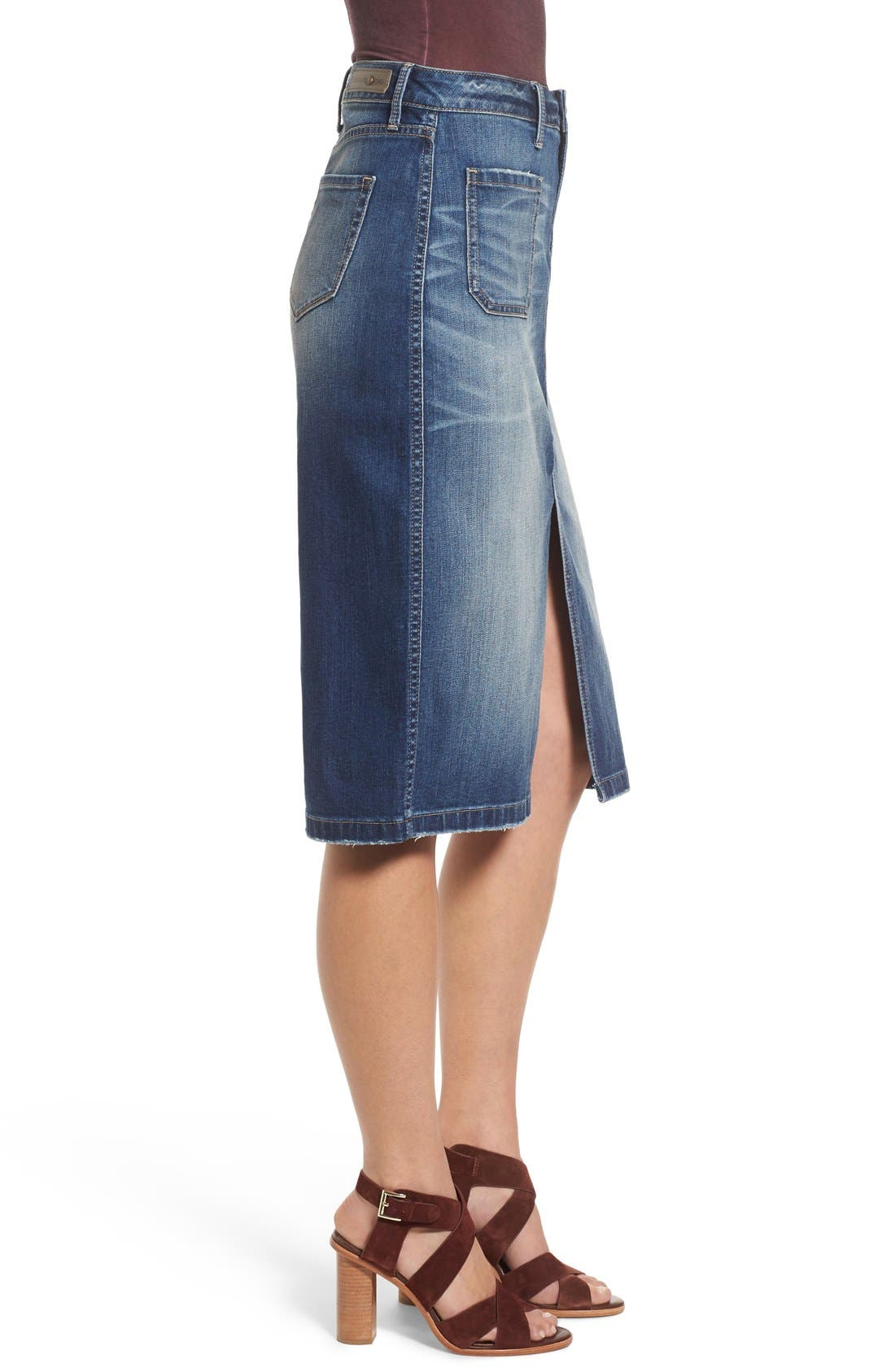 Alternate Image 3  - Hinge Denim Pencil Skirt (Rain Dusk Vintage)
