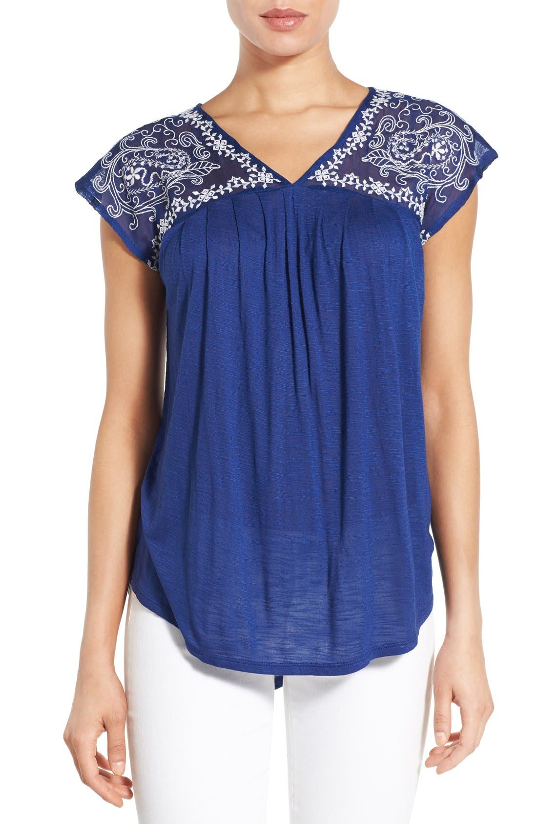 Alternate Image 1 Selected - Lucky Brand Embroidered Yoke Cap Sleeve Top