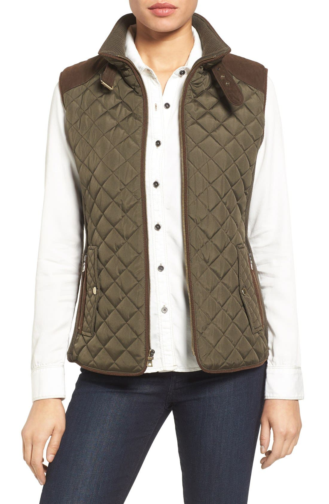Alternate Image 1 Selected - Gallery Quilted Vest with Faux Suede Trim (Regular & Petite)
