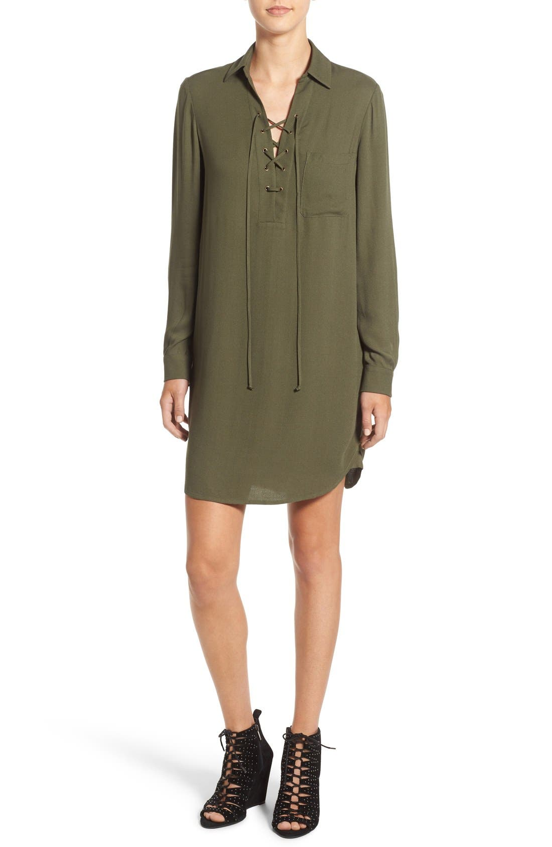 Lace-Up Shirtdress,                         Main,                         color, Olive