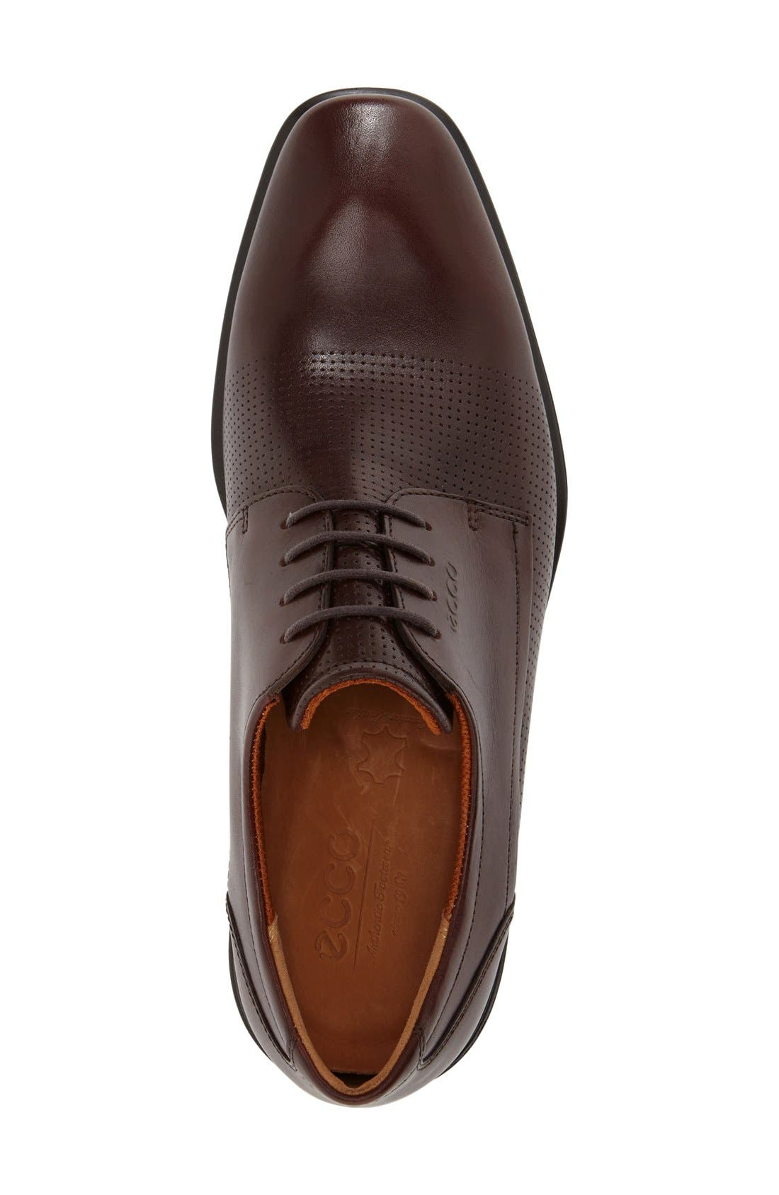 'Cairo' Perforated Plain Toe Derby,                             Alternate thumbnail 3, color,                             Rust Brown Leather