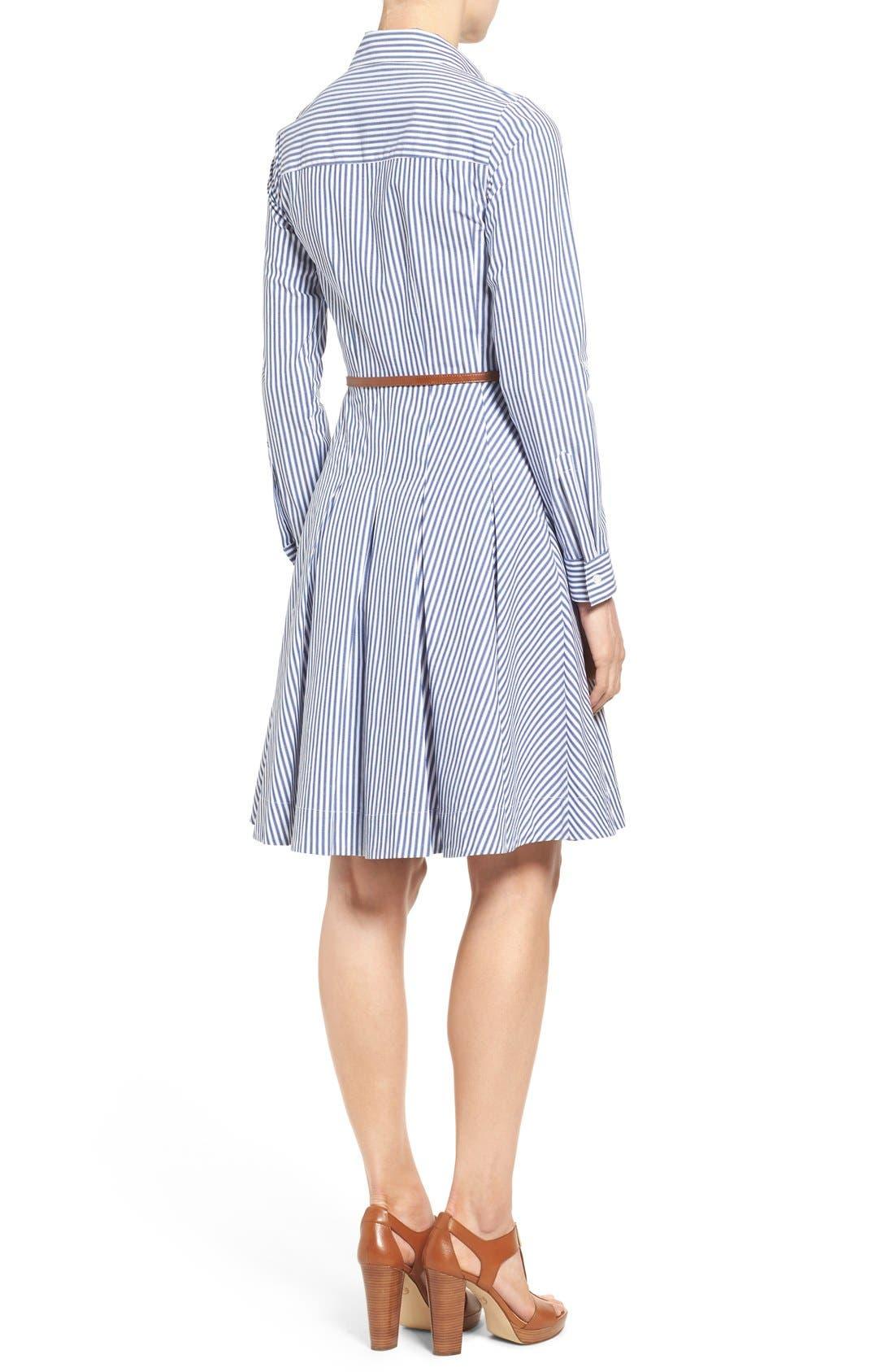 Alternate Image 2  - MICHAEL Michael Kors Belted Stripe Stretch Cotton Shirtdress