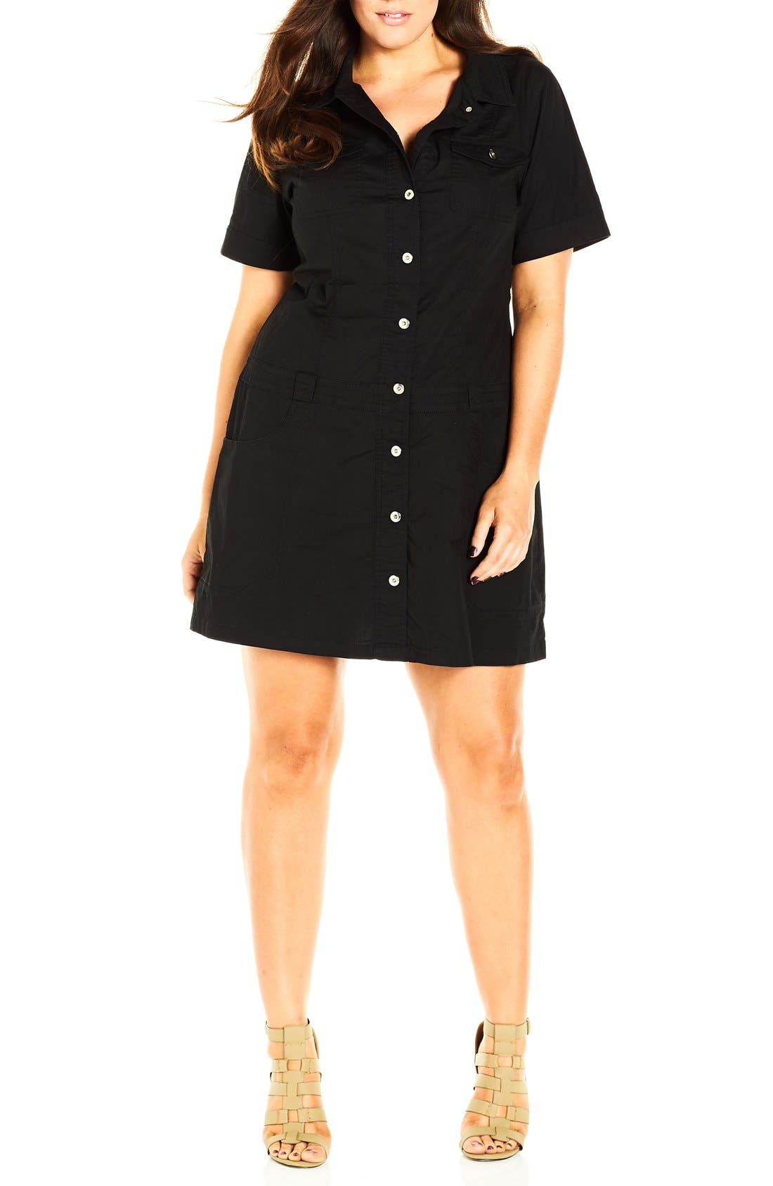 Alternate Image 3  - City Chic 'Adventure' Short Sleeve Stretch Cotton Shirtdress (Plus Size)