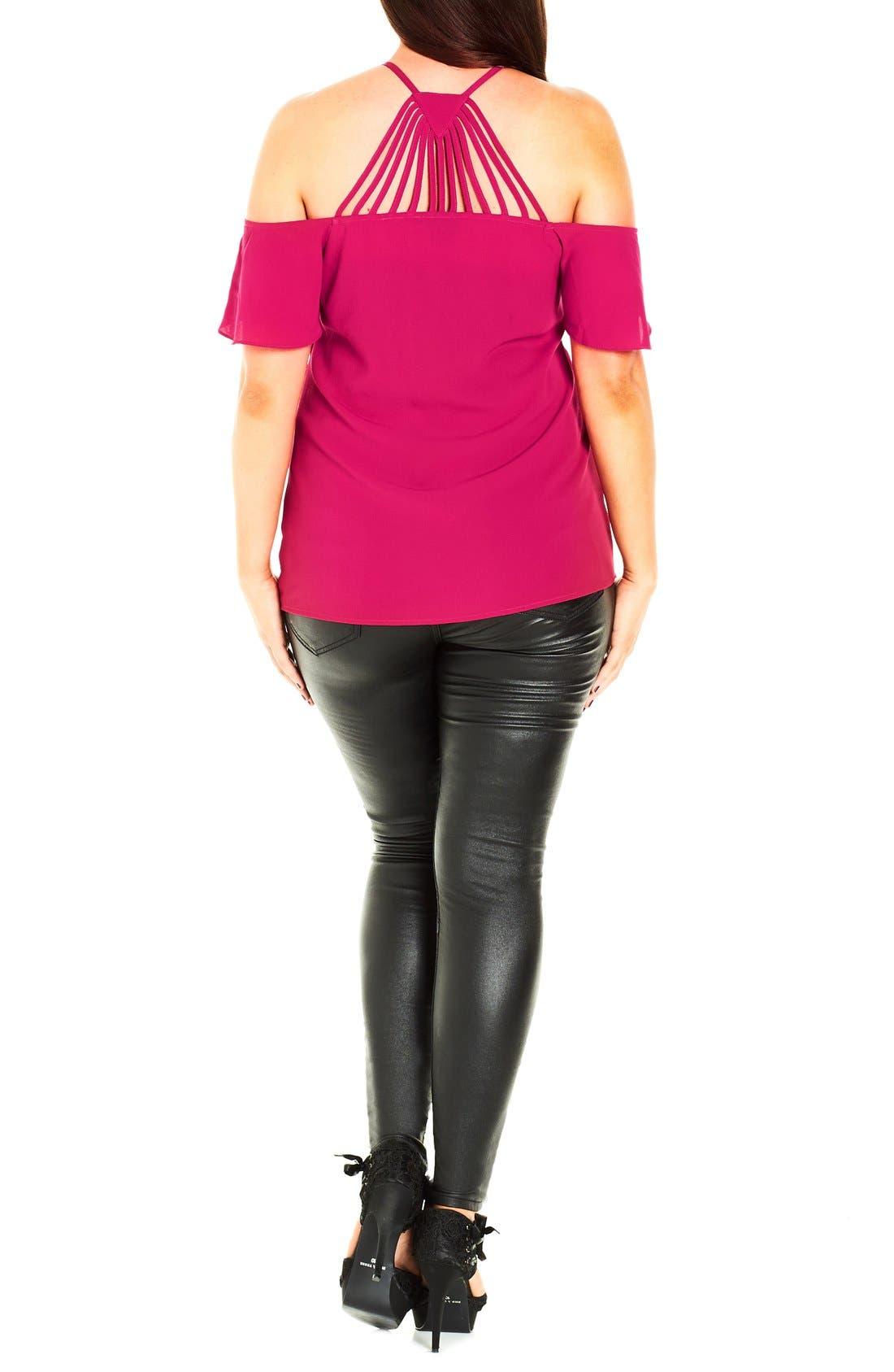 Alternate Image 2  - City Chic 'Flirty Sleeve' Crepe Cold Shoulder Top (Plus Size)
