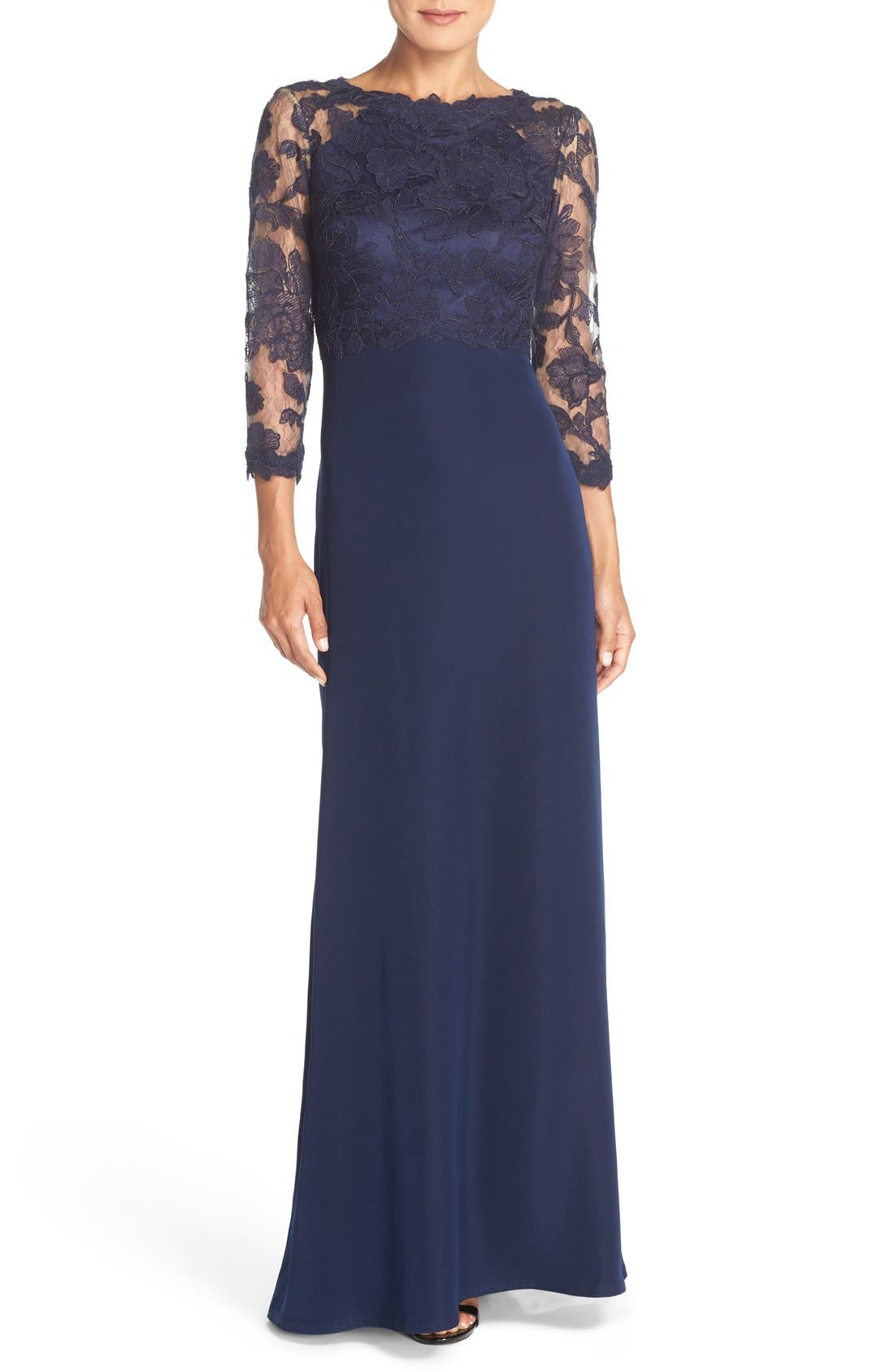 Embroidered Lace Gown,                             Main thumbnail 1, color,                             Royal Navy