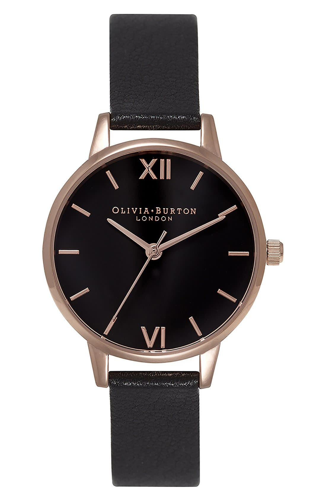 'Midi Dial' Leather Strap Watch, 30mm,                             Main thumbnail 1, color,                             Black/ Black/ Rose Gold