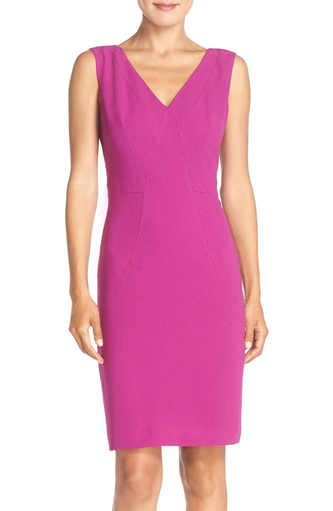 Adrianna Papell Seamed Woven Sheath Dress (Regular & Petite)