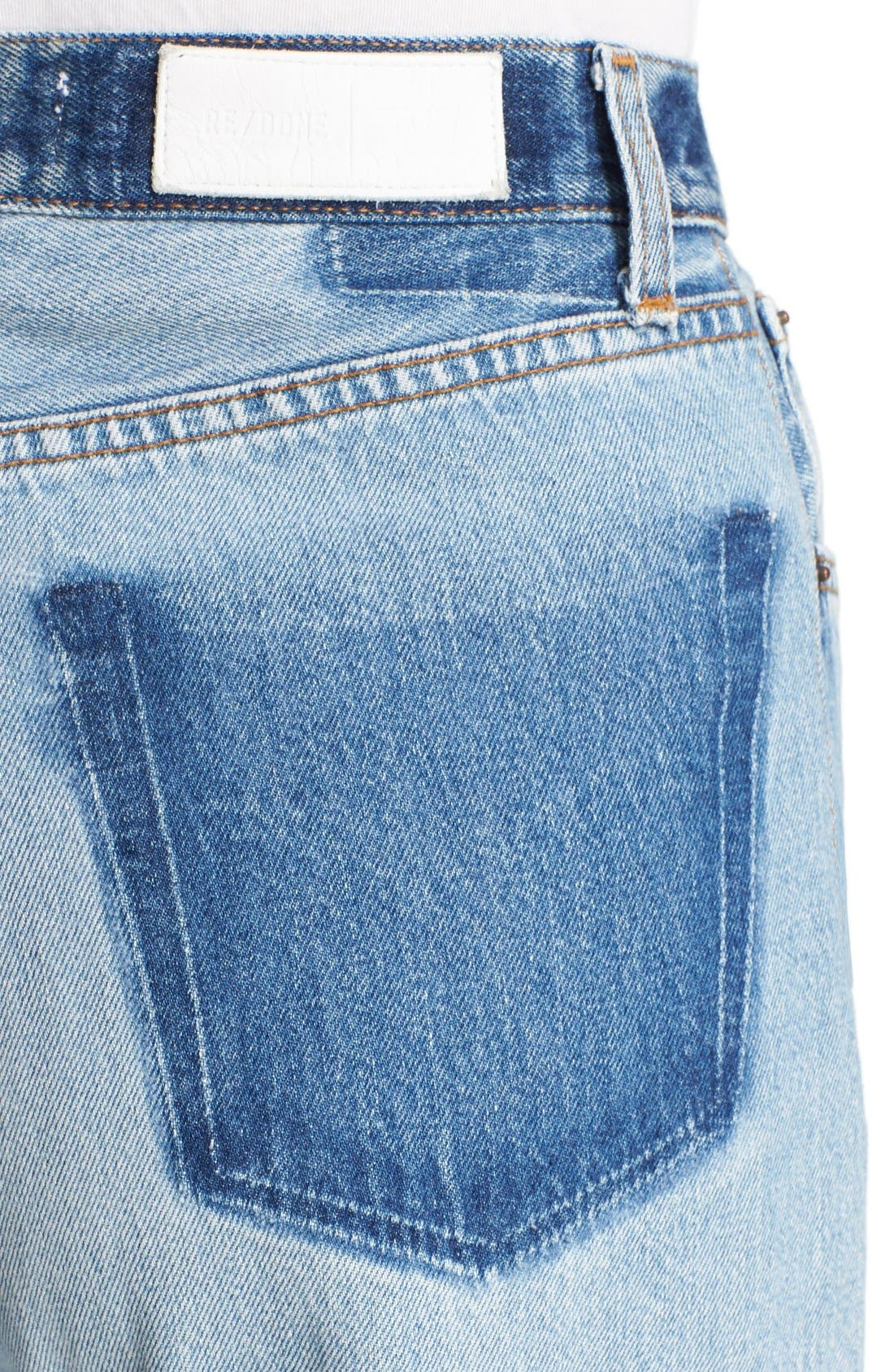 'The High Rise Wide Leg' Reconstructed Jeans,                             Alternate thumbnail 4, color,                             Denim Patch