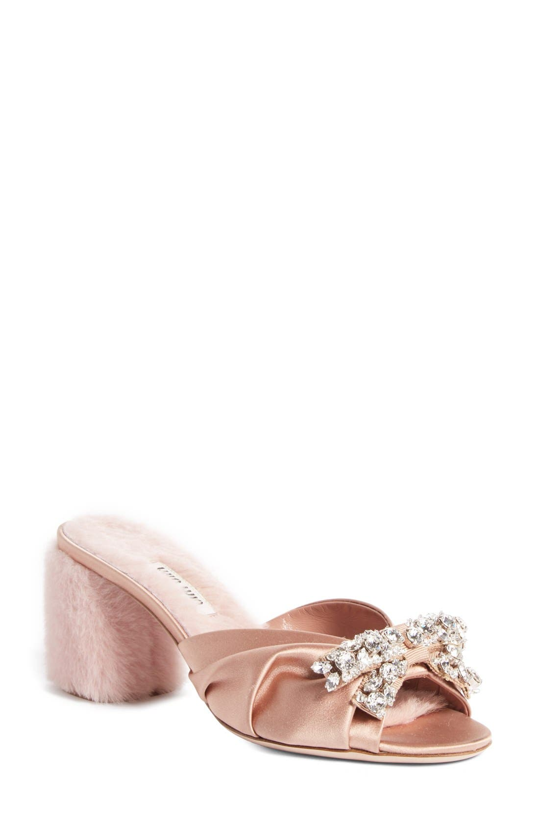 Main Image - Miu Miu Crystal Embellished Slide Sandal (Women)