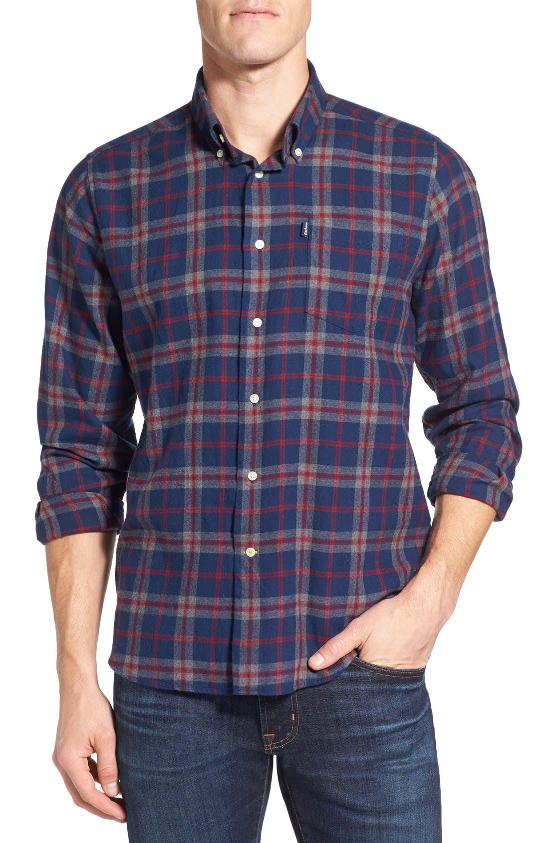 Seth Tailored Fit Plaid Sport Shirt,                         Main,                         color, Grey Marl