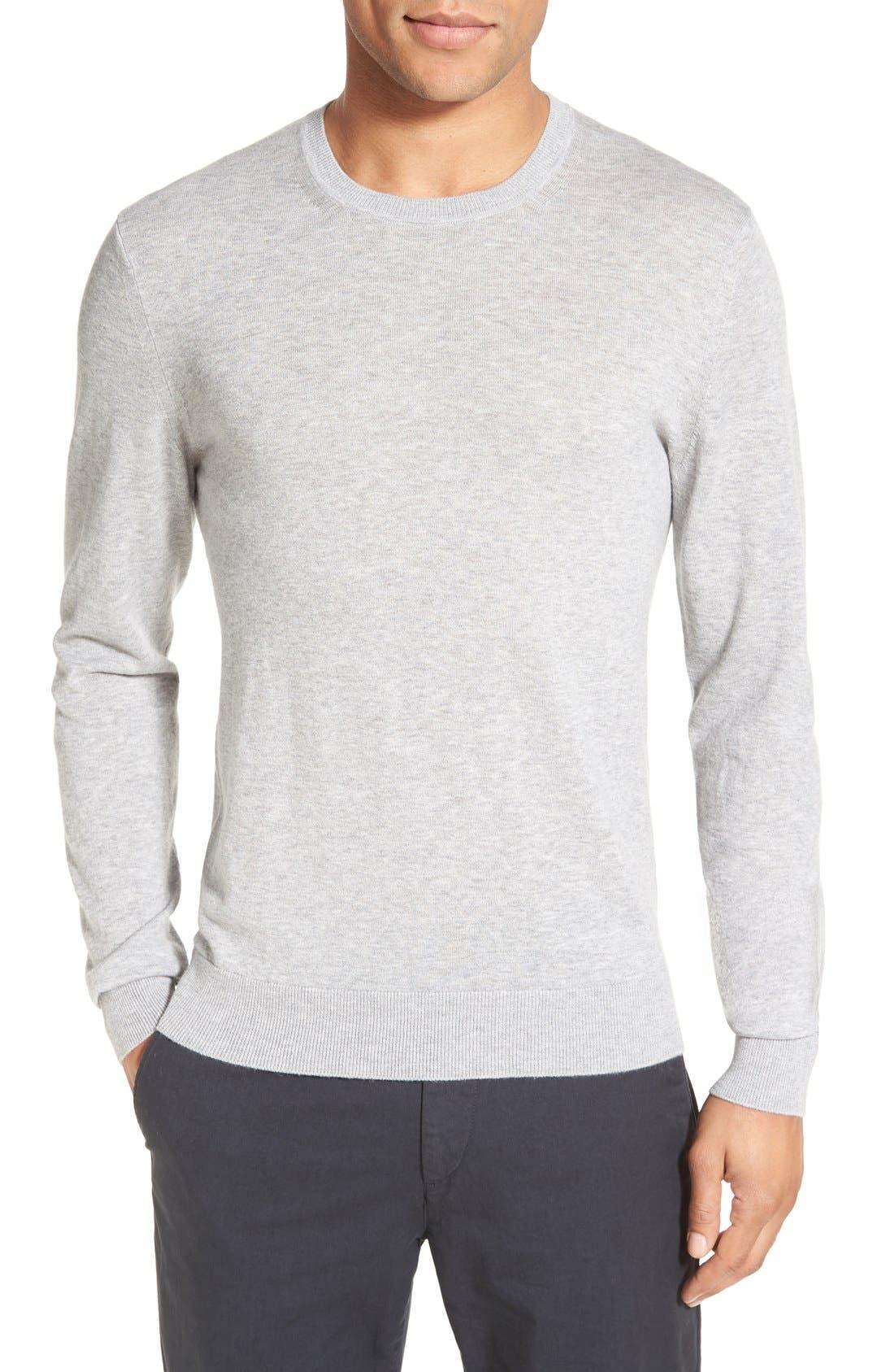 Brit Richmond Cotton & Cashmere Sweater,                             Main thumbnail 1, color,                             Pale Grey Melange