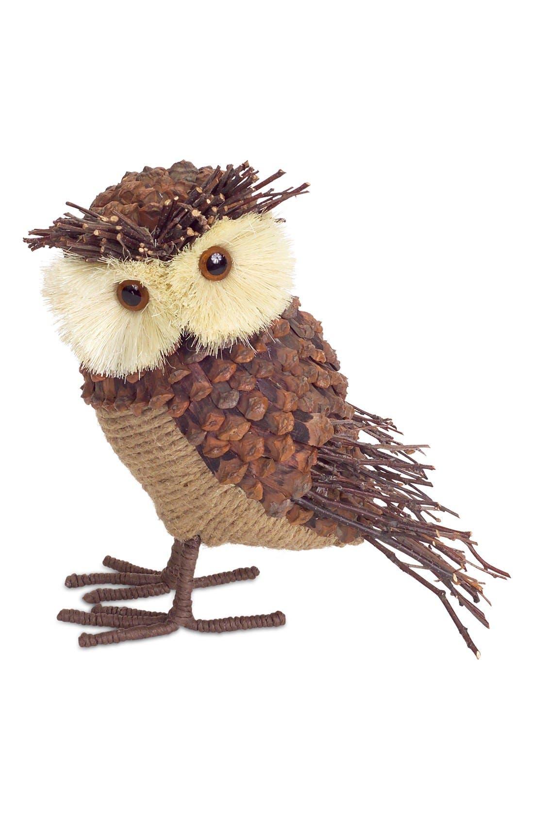 Burlap & Pinecone Owl Decoration,                             Alternate thumbnail 2, color,                             Brown/ Beige