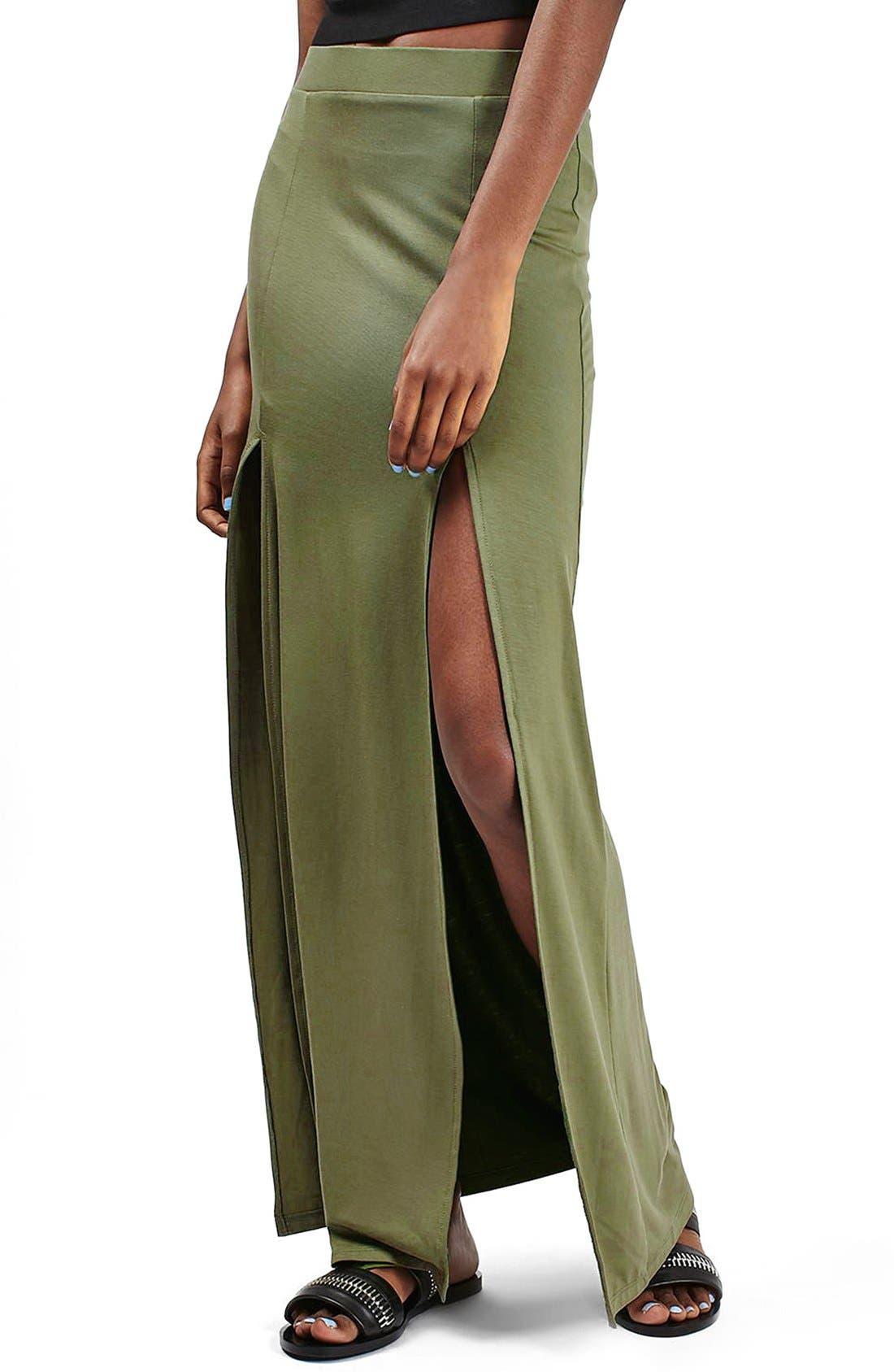 Alternate Image 1 Selected - Topshop Double Slit Maxi Skirt
