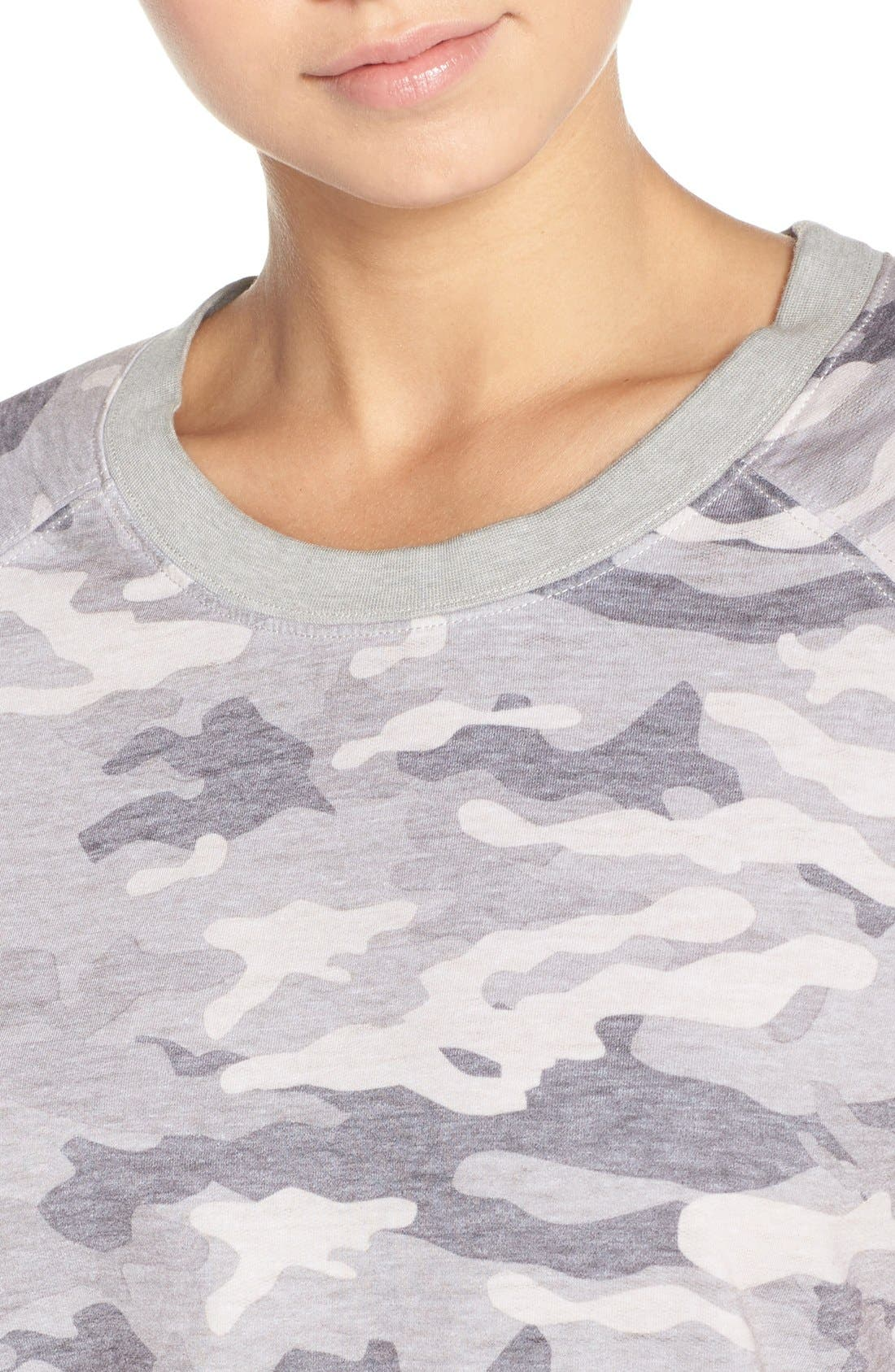 Burnout Lounge Sweatshirt,                             Alternate thumbnail 4, color,                             Grey Camo