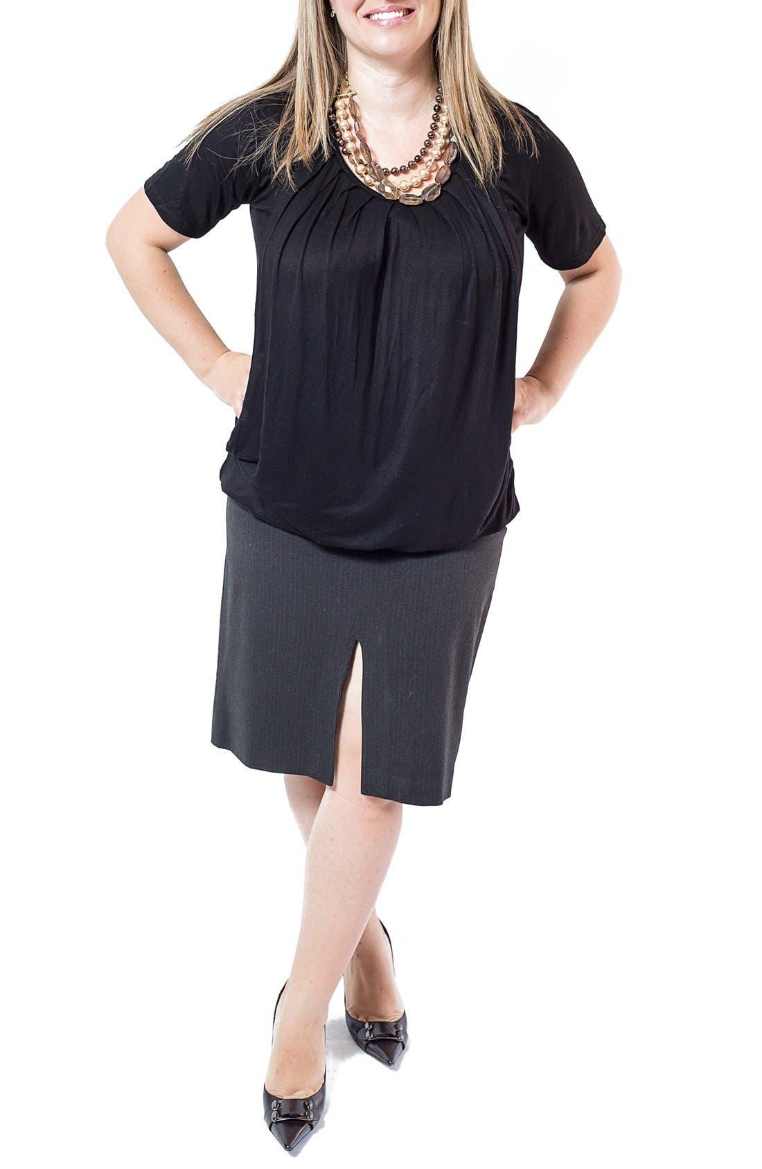 Pleated Short Sleeve Nursing Top,                             Main thumbnail 1, color,                             Black