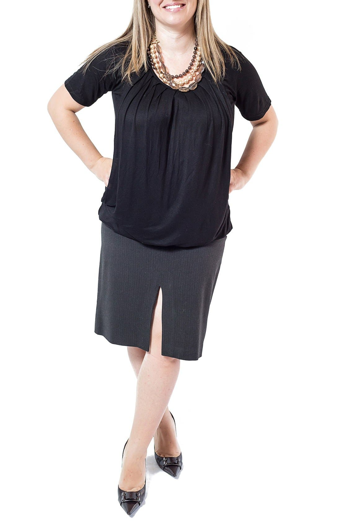 Pleated Short Sleeve Nursing Top,                         Main,                         color, Black
