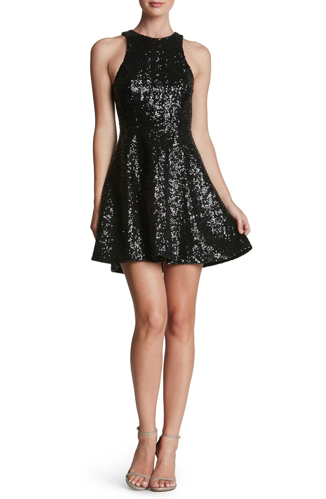 'Ginger' Sequin Fit & Flare Dress,                             Main thumbnail 1, color,                             Matte Black